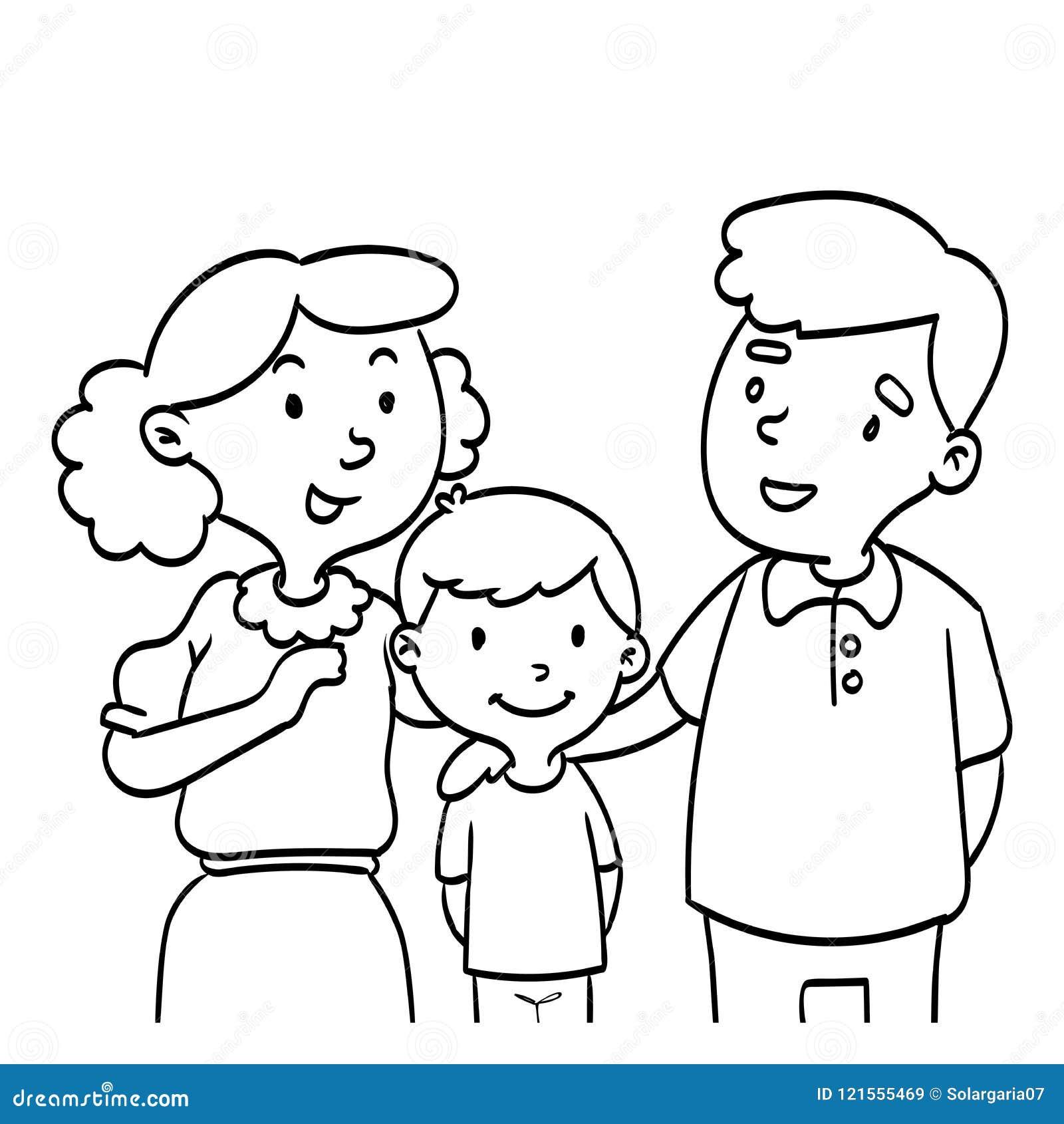 Entregue Tirado Da Familia Feliz A Lapis Ilustracao Do Desenho