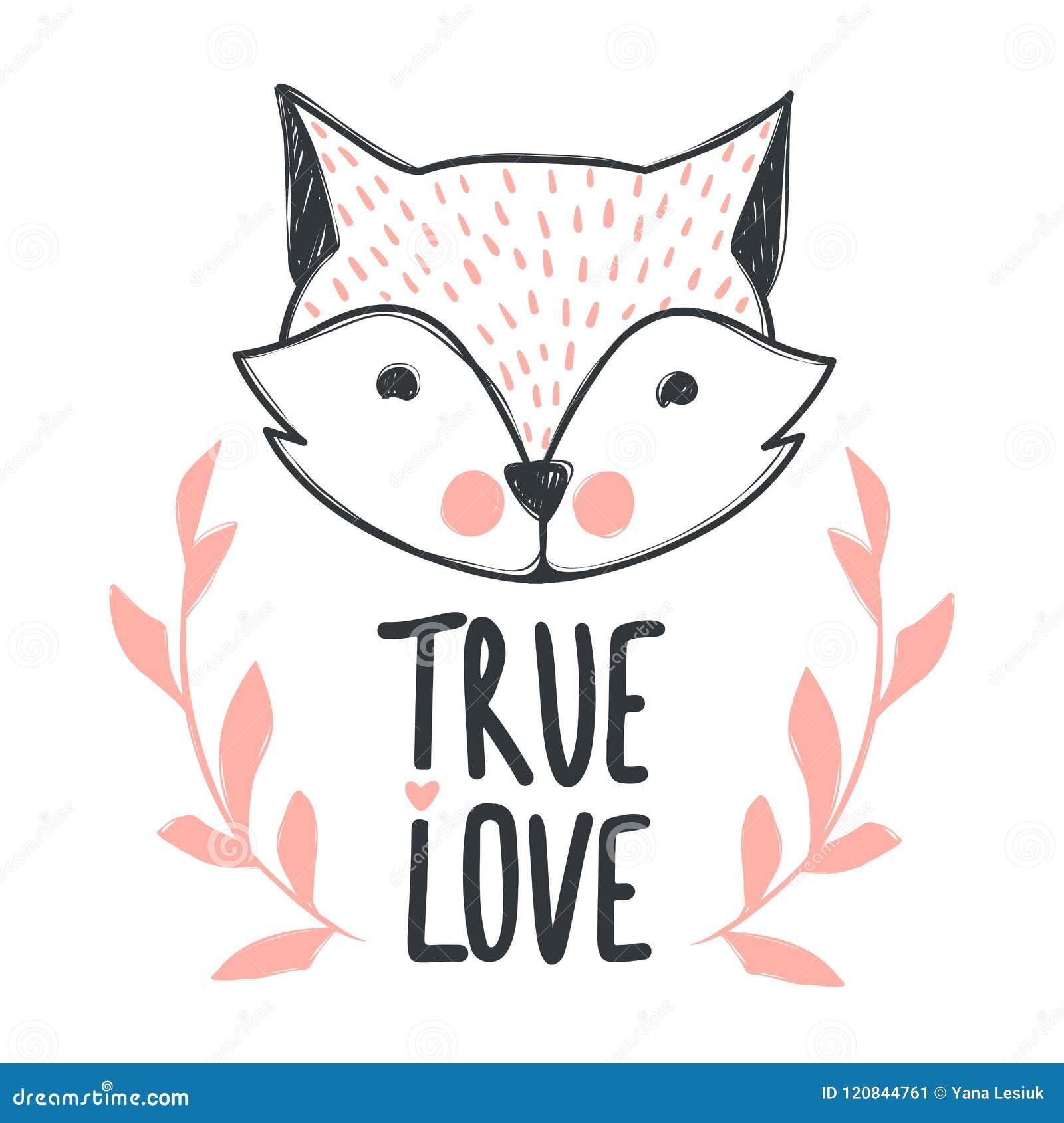 Entregue Tirado Rotulando A Frase Amor Verdadeiro E Raposa