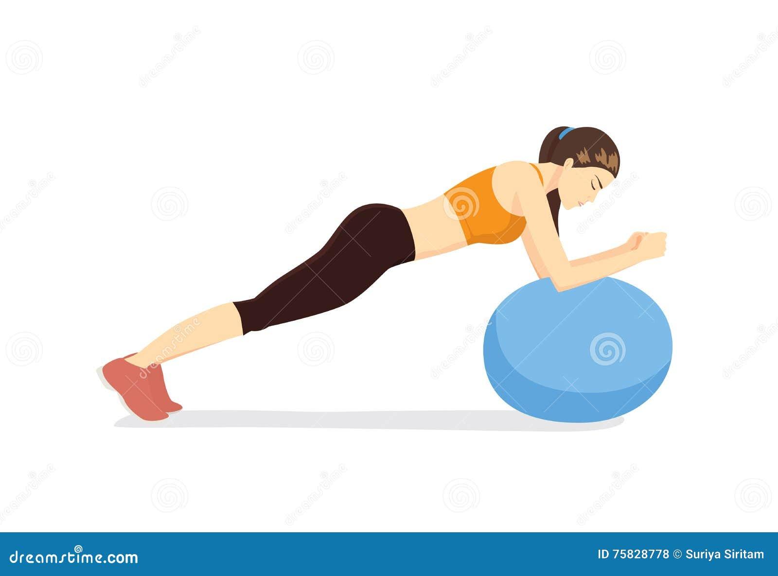 Entrenamiento de la mujer con la bola de la aptitud en postura de la sobremesa de la bola