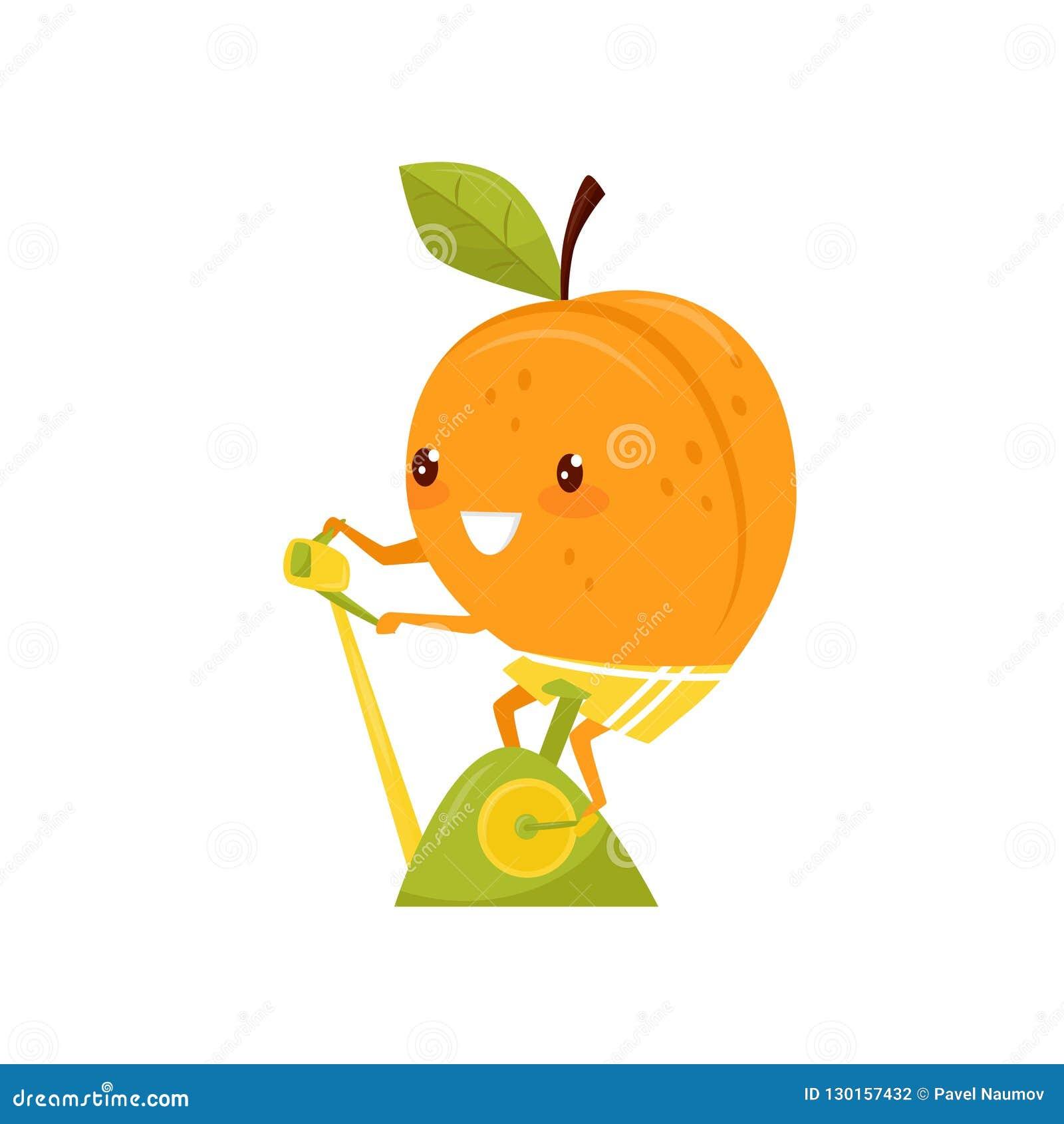 Entrenamiento divertido en una bicicleta estática, personaje de dibujos animados juguetón del melocotón de la fruta que hace el e
