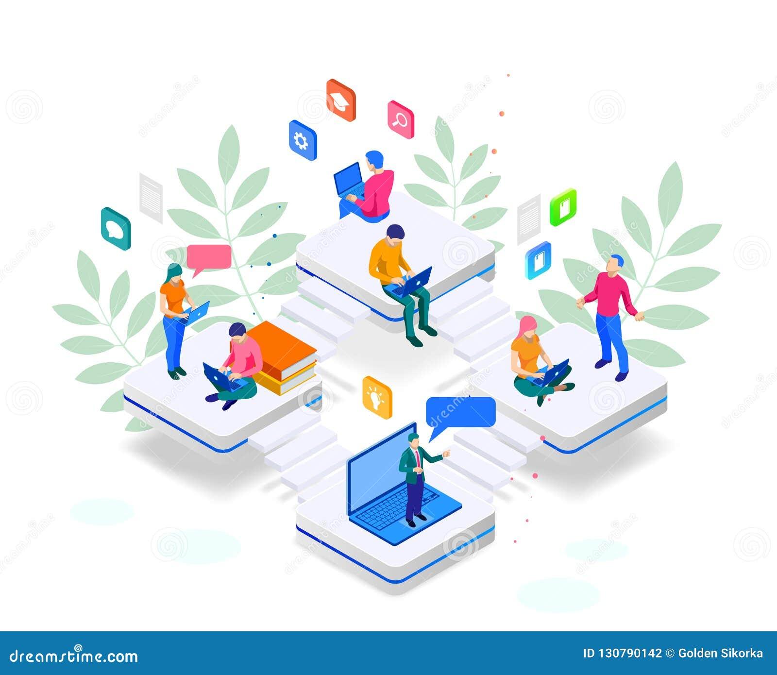 Entrenamiento en línea de la bandera isométrica de la web o educación y concepto de los cursos de aprendizaje de Internet Plantil