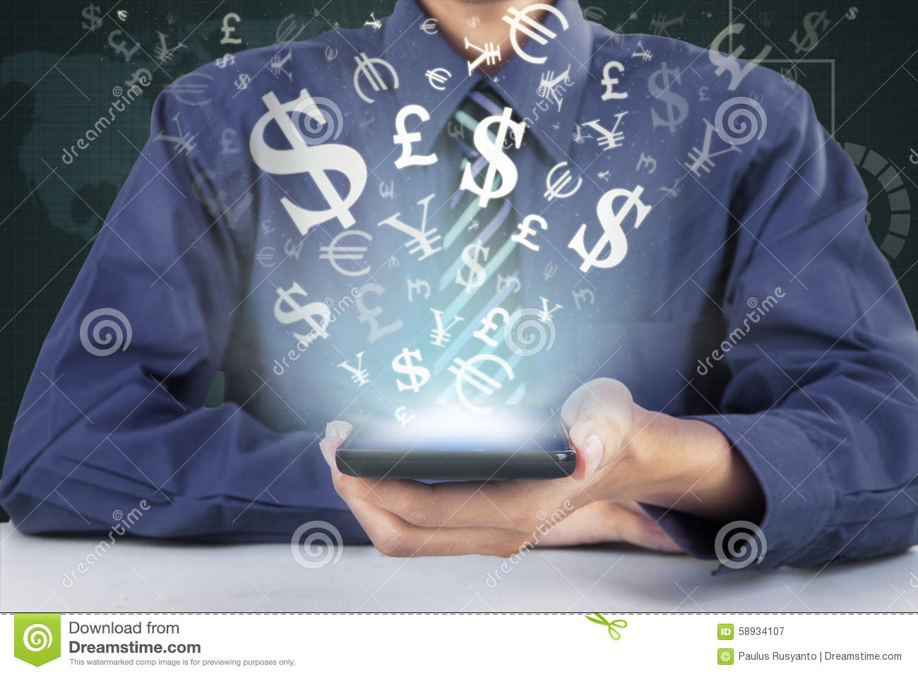 Business Man Is Holding Phone For Making Money Online Royalty-Free Stock Image | CartoonDealer ...