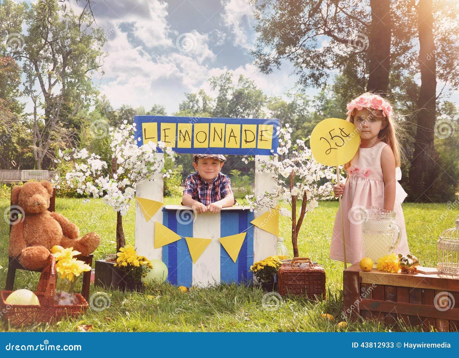 Entrepreneur Kids Selling Drinks at Lemonade Stand