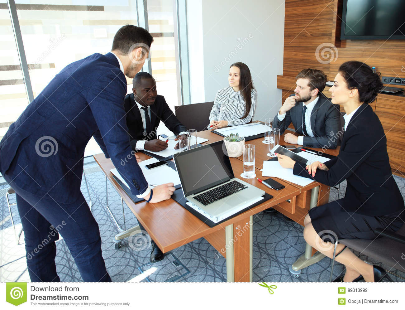 Entrepreneurs and business people conference in modern meeting room.