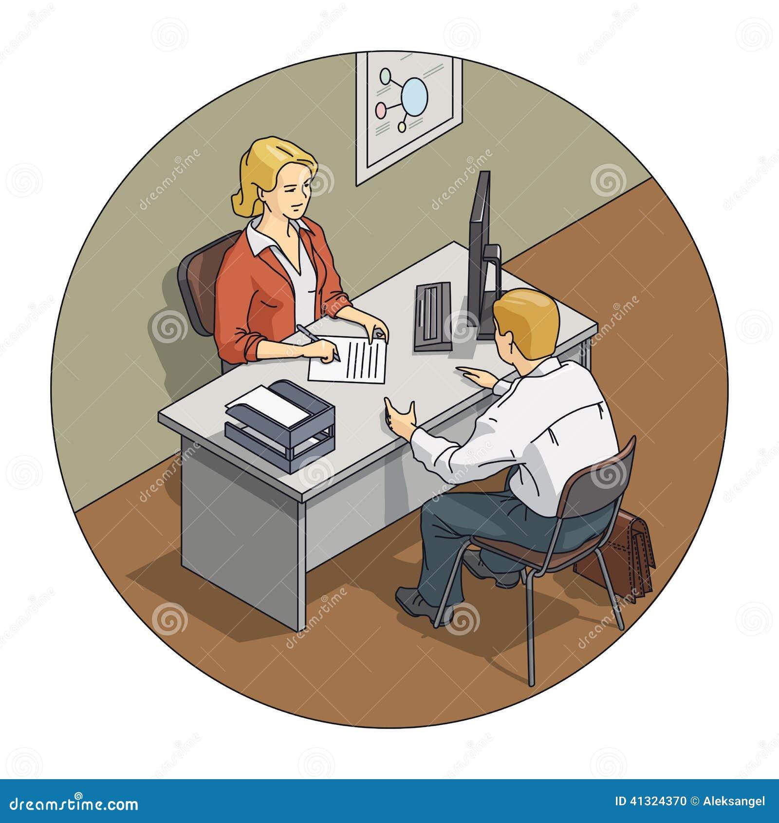 Entretien De Femme De Directeur Avec Le Client