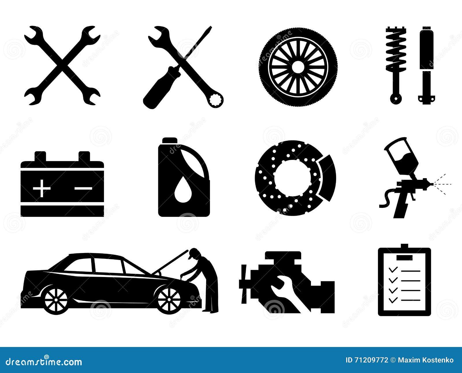 entretien de voiture et ensemble d 39 ic ne de r paration vecteur illustration de vecteur. Black Bedroom Furniture Sets. Home Design Ideas