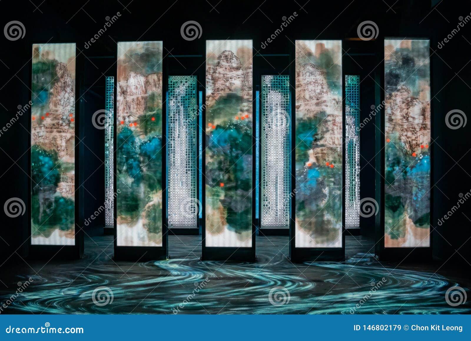 Entrevista do pavilh?o da descoberta do mundo Flora Exposition de Taichung