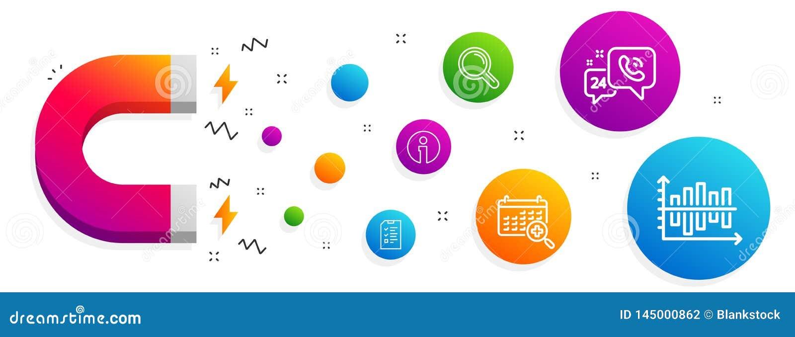 Entrevue, calendrier m?dical et ensemble d ic?nes de l information Recherche, service 24h et signes de diagramme de diagramme Vec