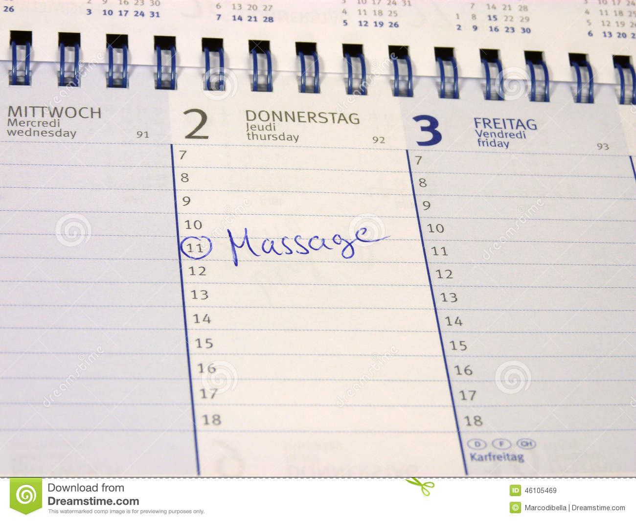 Entry In The Calendar: Massage Stock Photo - Image: 46105469