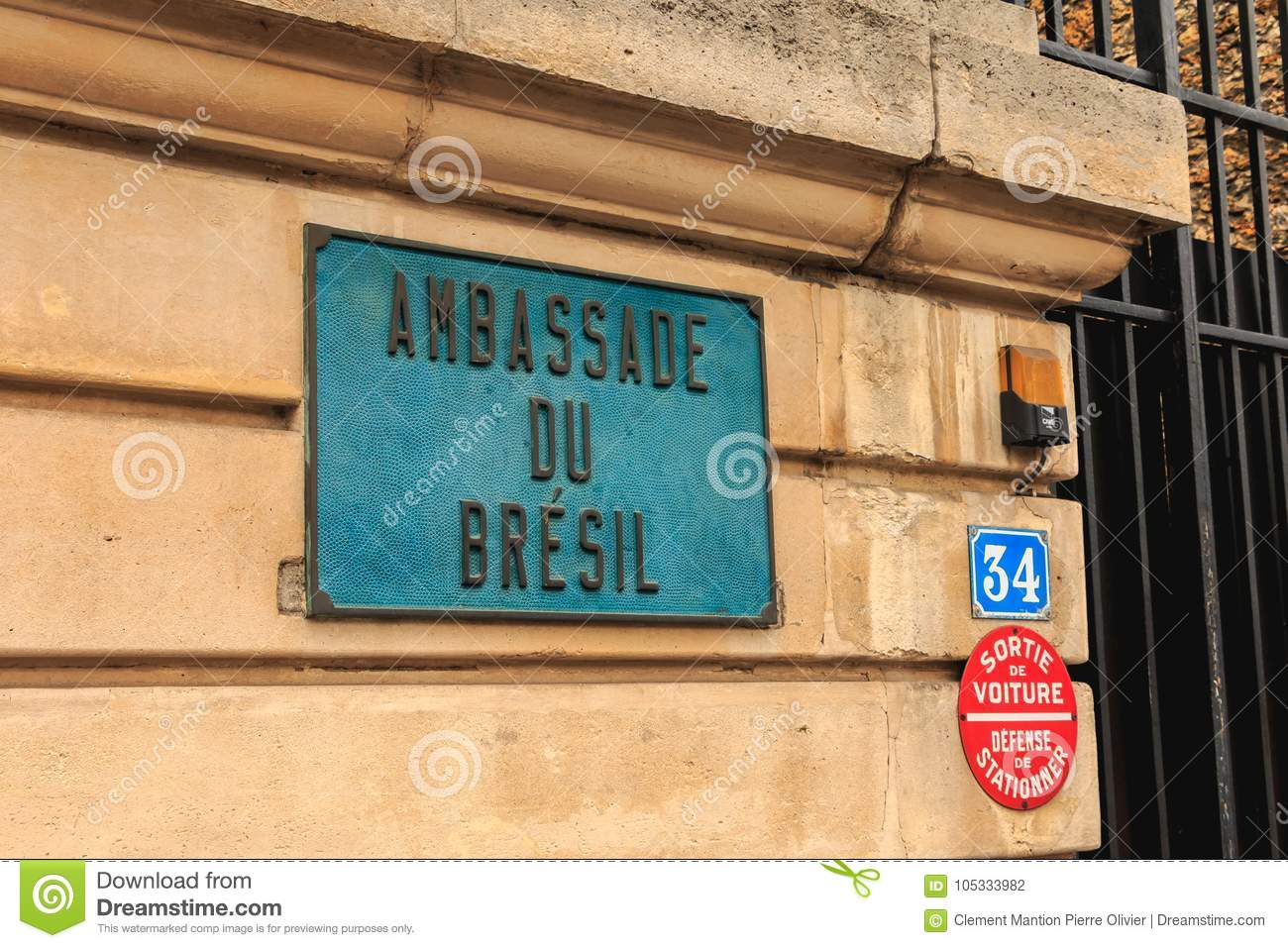 Entry Of The Embassy Of Brazil In Paris Editorial
