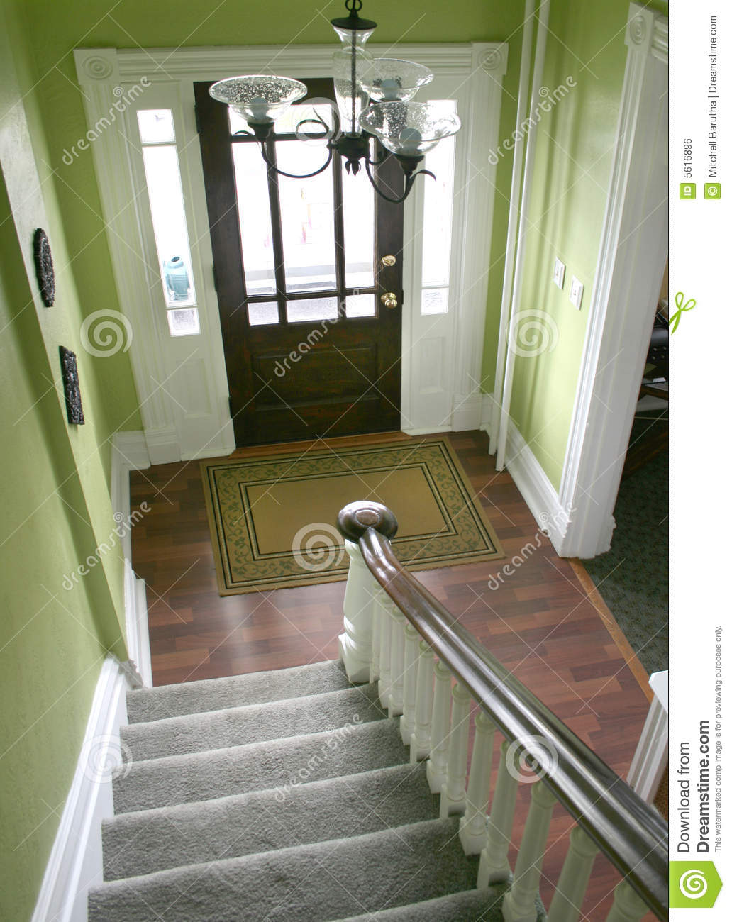 Download Entry Hall Stairs And Front Door Stock Photo - Image of stair, hallway: 5616896