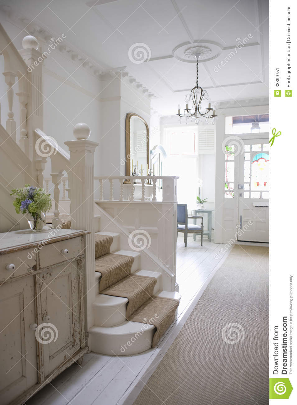 Entry Hall With Stairway Stock Image Image Of Domestic