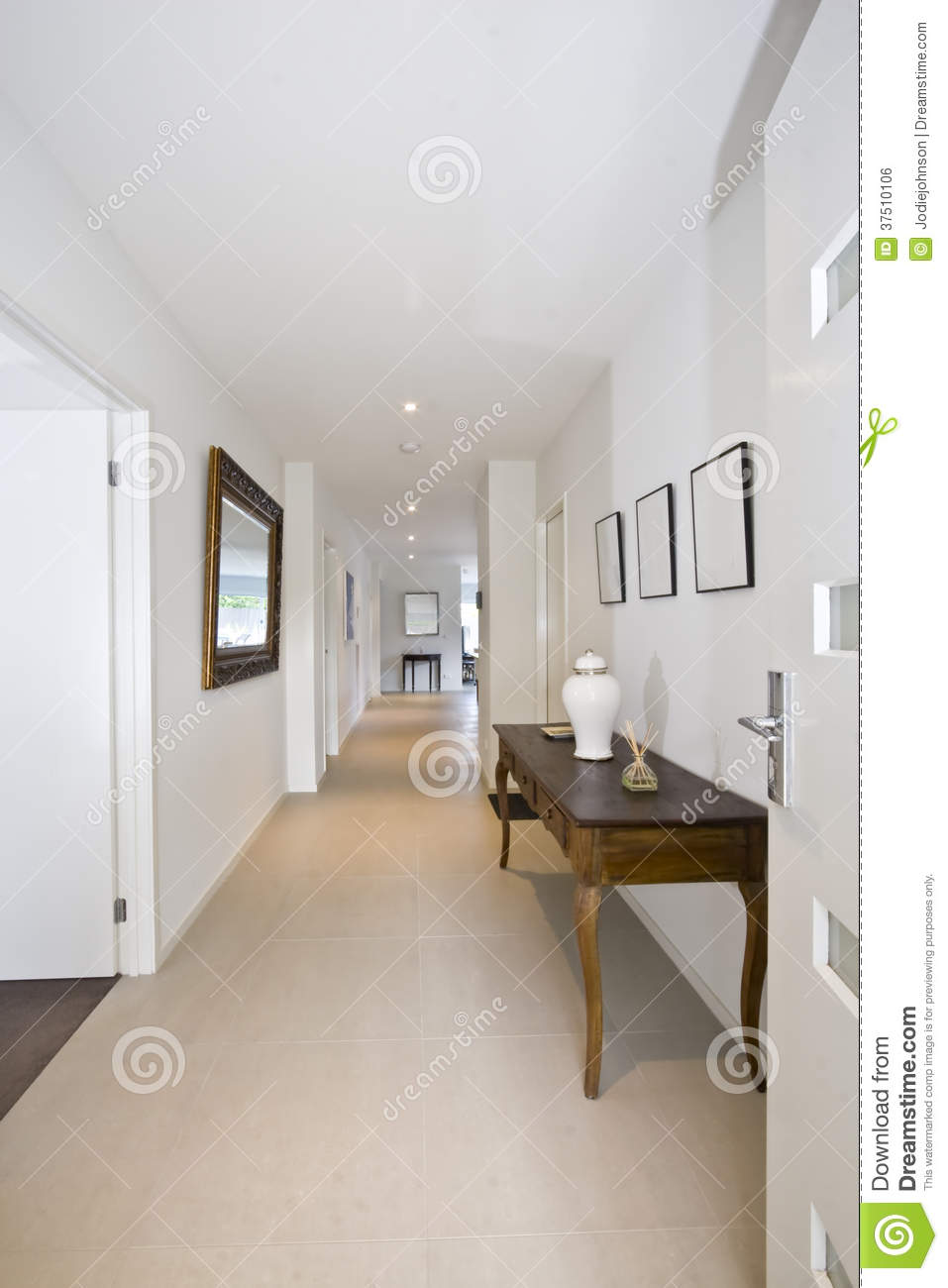 Entry Hall To Stylish Contemporary Home Stock Photo - Image of ...