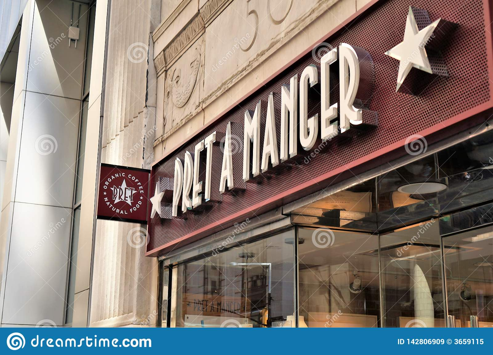 Entry sign with name and logotype of popular natural food and organic coffee shop chain `Pret a manger`. Manhattan, NYC.
