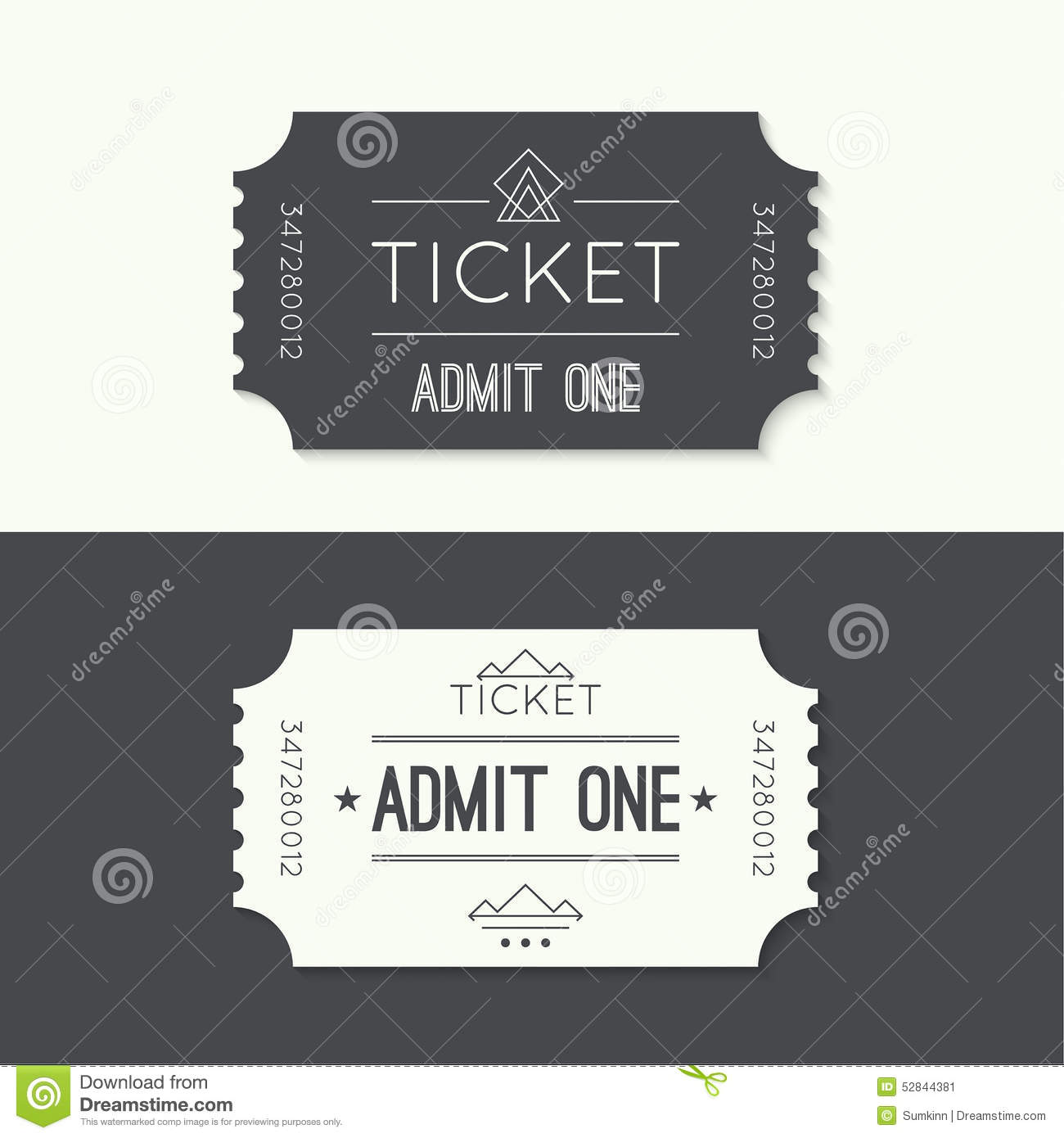 Entry Ticket To Old Vintage Style Stock Vector