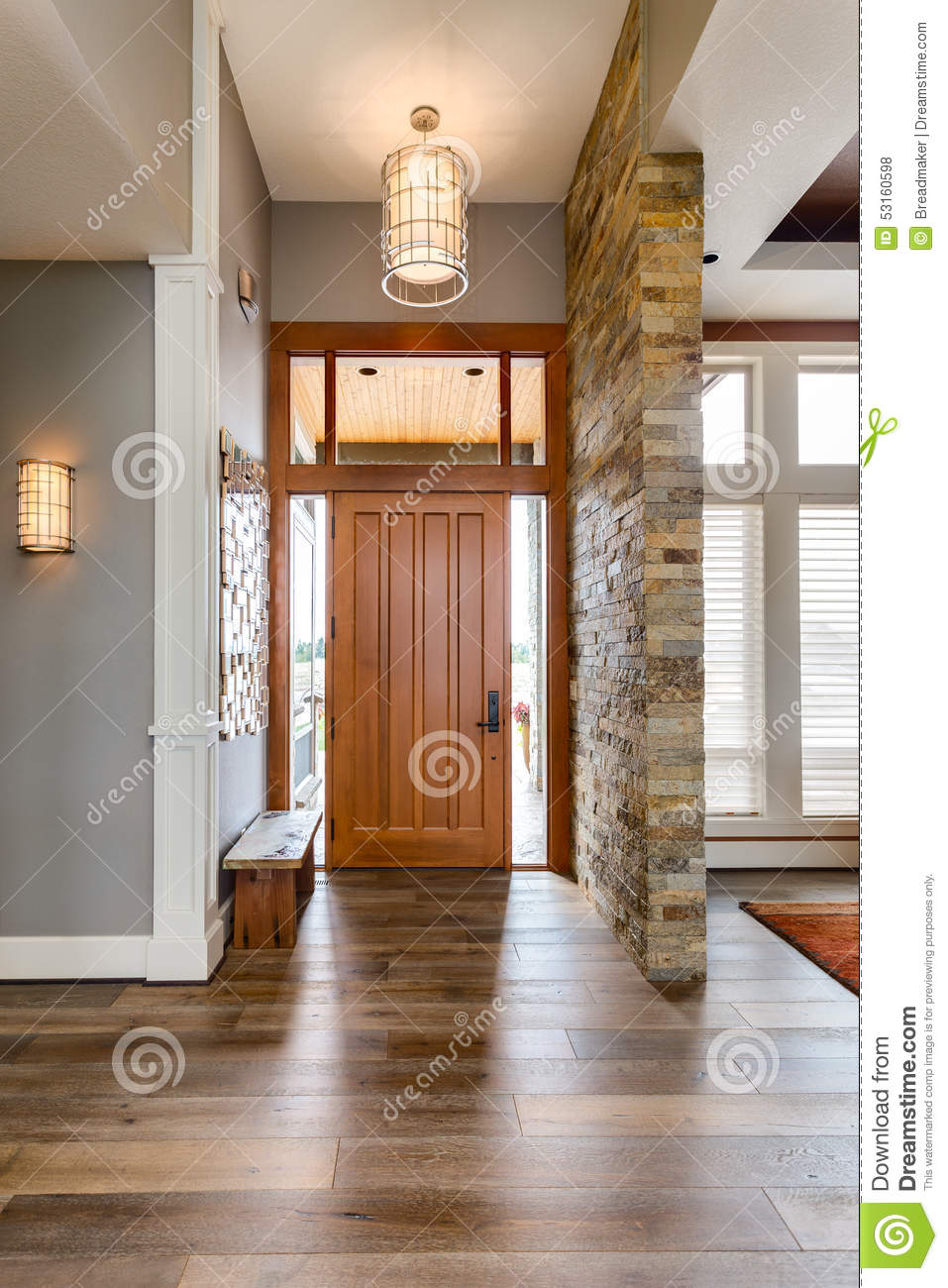 Foyer Stone Design : Entryway foyer in new luxury home stock photo image of