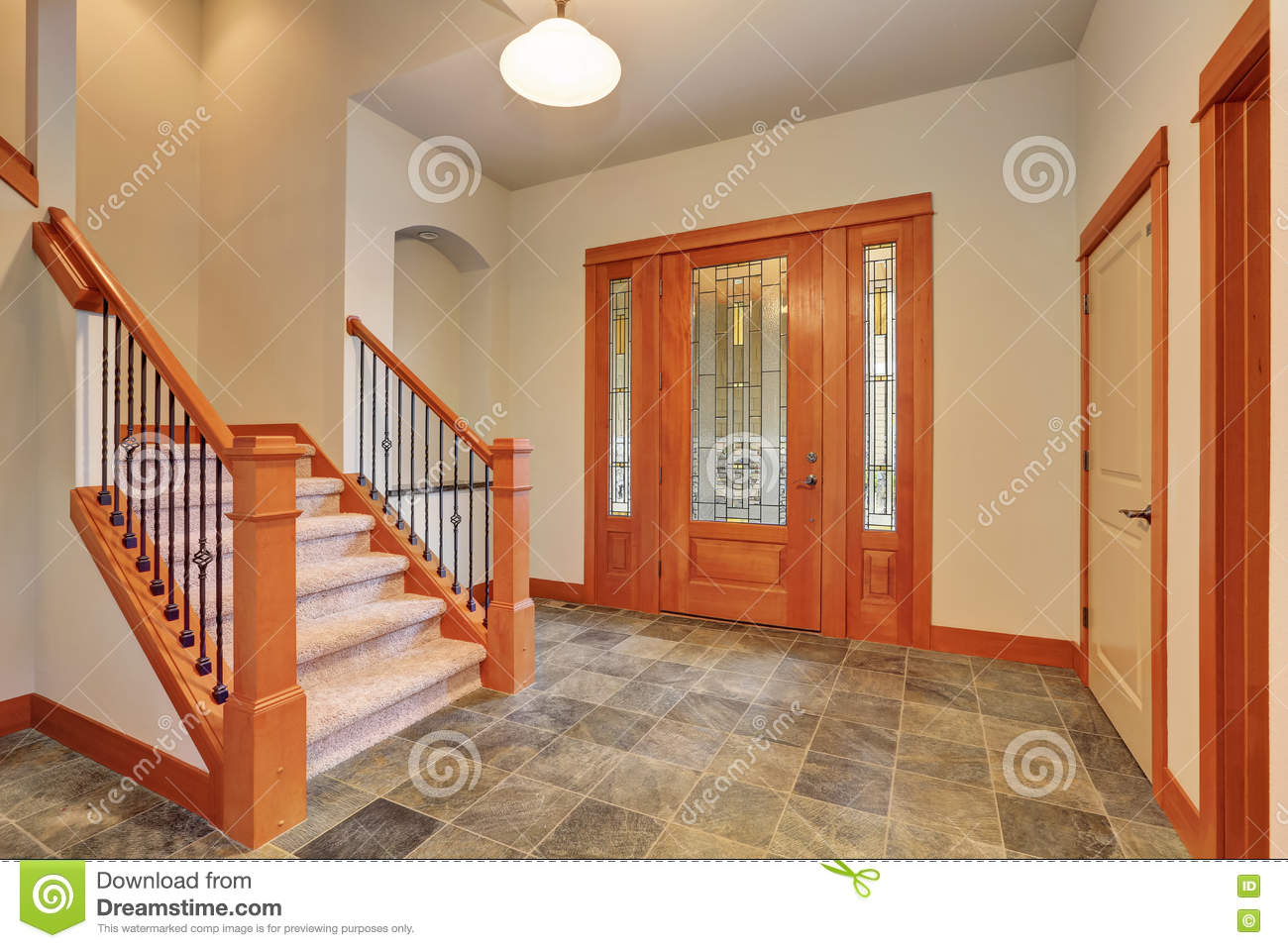 Entryway Interior With Luxury Stained Glass Door Stock Image Image