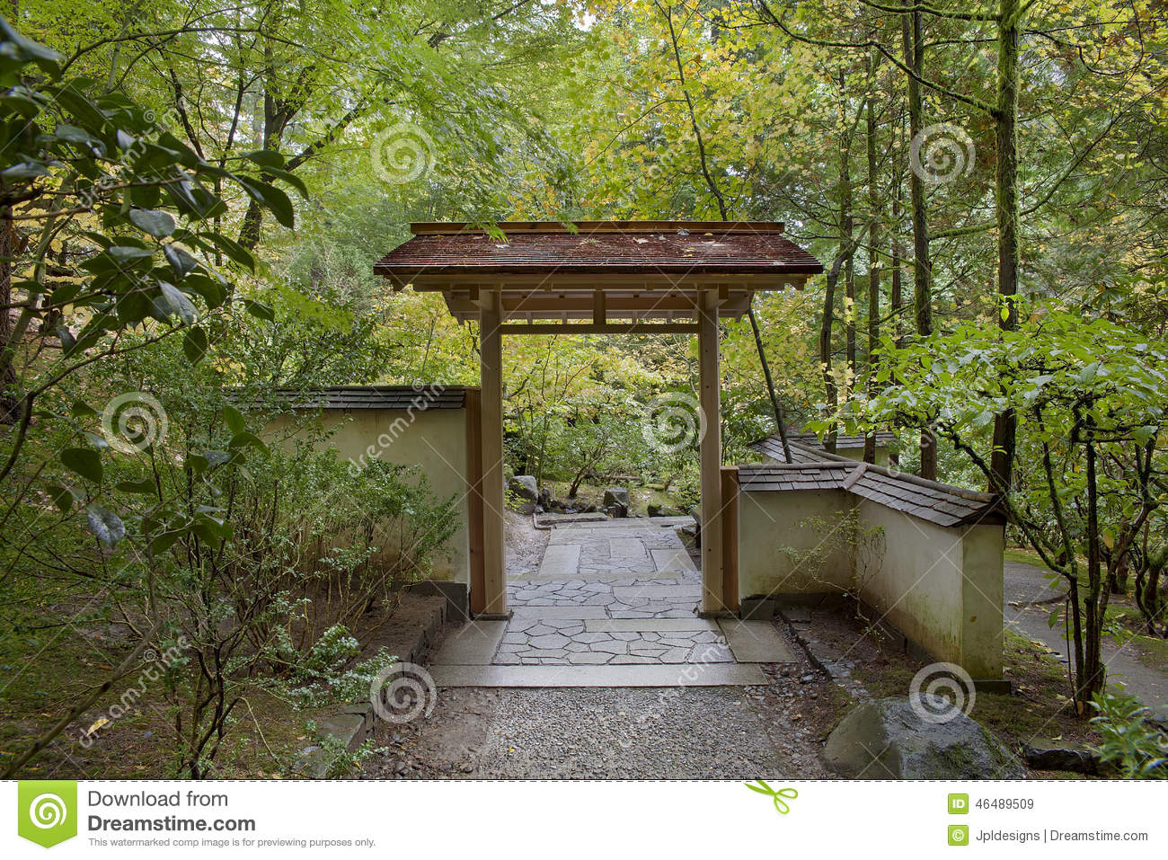 Entryway at japanese garden in autumn season stock photo for Entryway garden designs