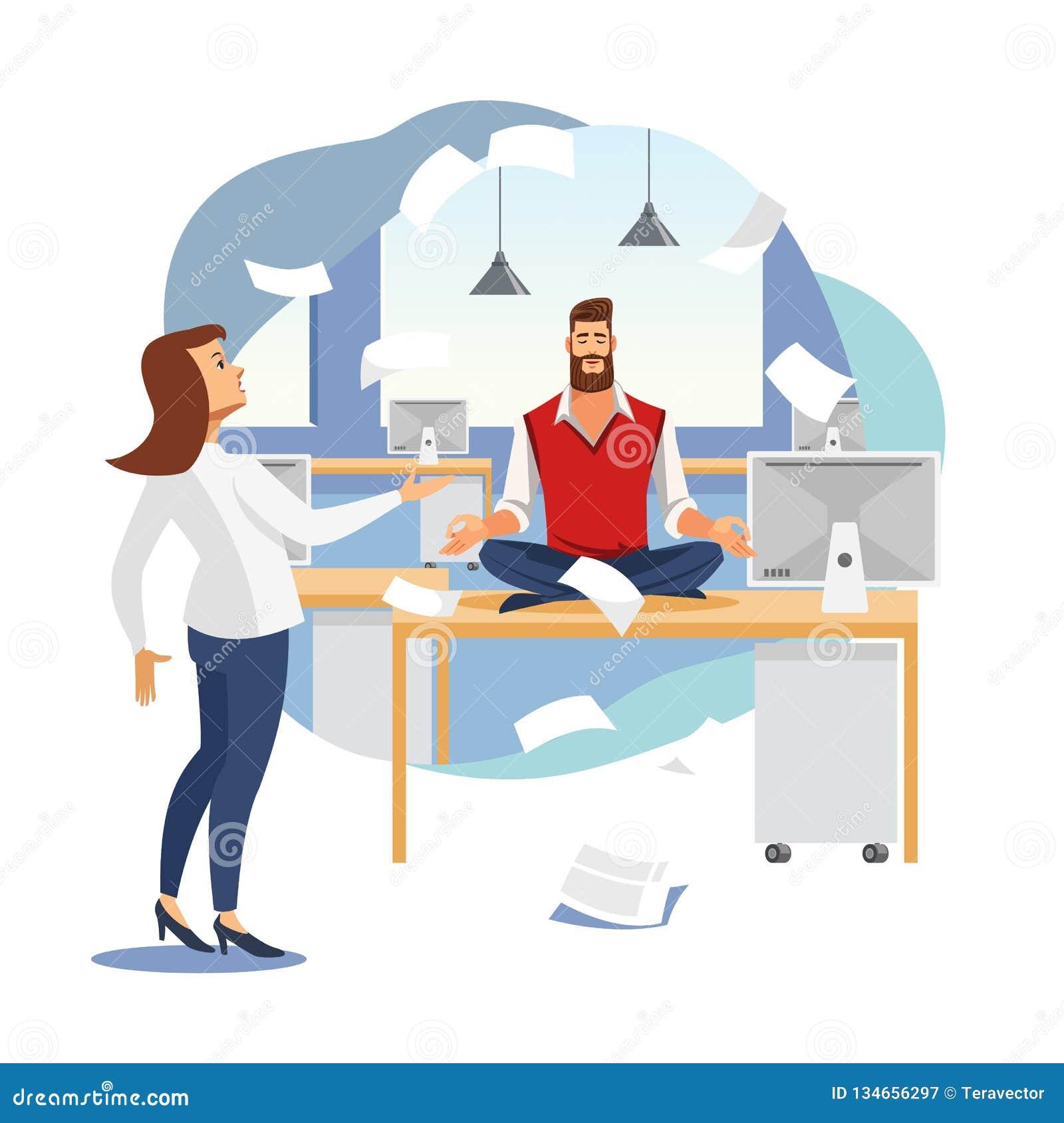Entspannung Büro-Arbeits-im flachen Vektor-Konzept