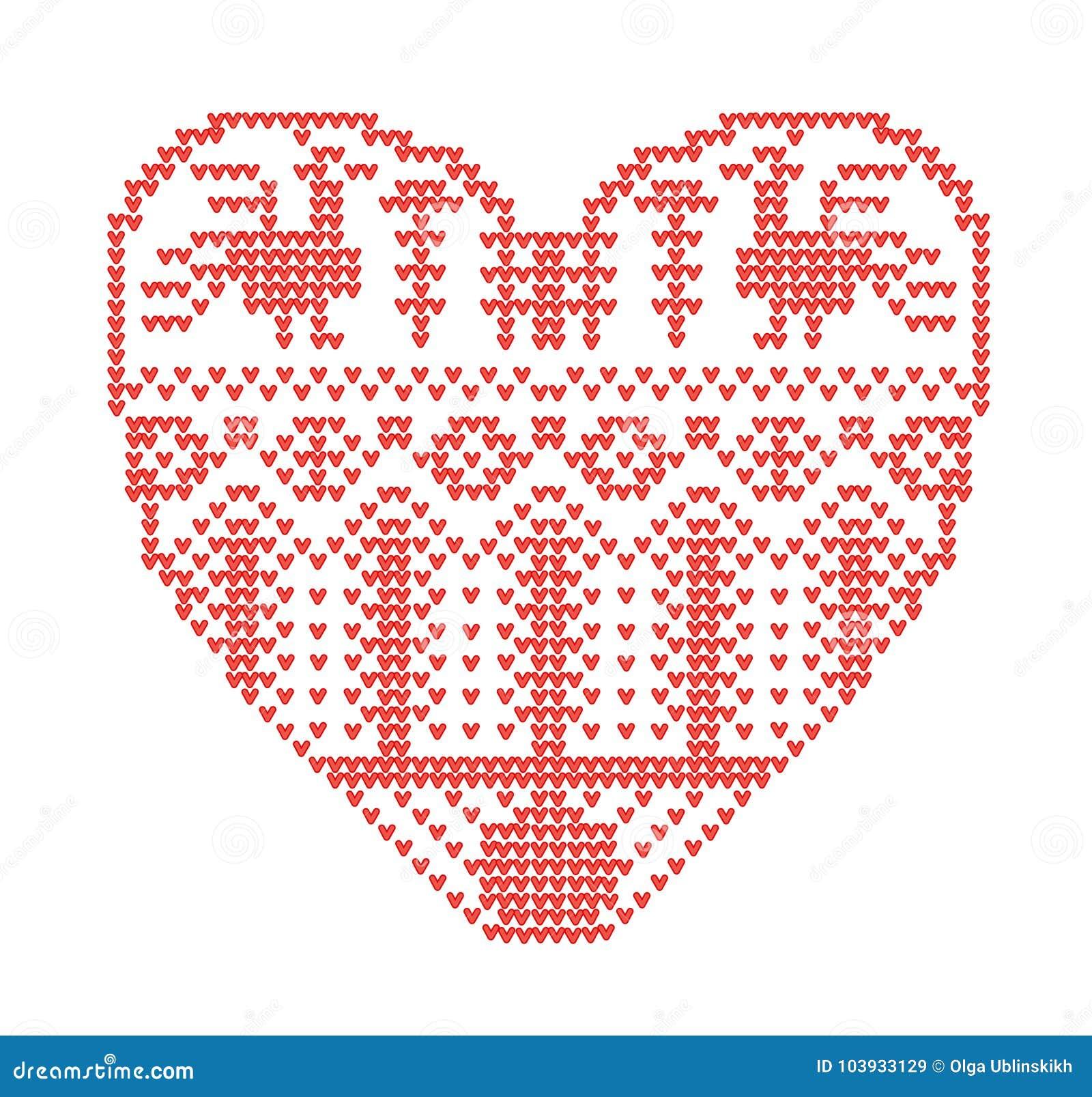 Entwerfen Sie für das Stricken, geometrische Schablone mit stilisiertem Herzen in der ländlichen Art Vektorkarikatur für Stickere