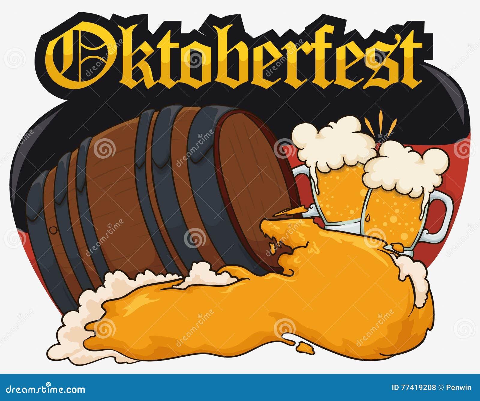 Entwerfen Sie für Oktoberfest mit Bier-Fass, der Beifall, der Deutschland-Flagge, Vektor-Illustration bildet