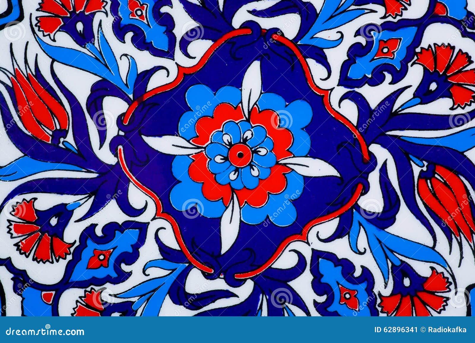 Entwerfen Sie mit Blumen auf keramischem Topf in einer Art von türkischen historischen Fliesen Kopierte Beschaffenheit des Mittle