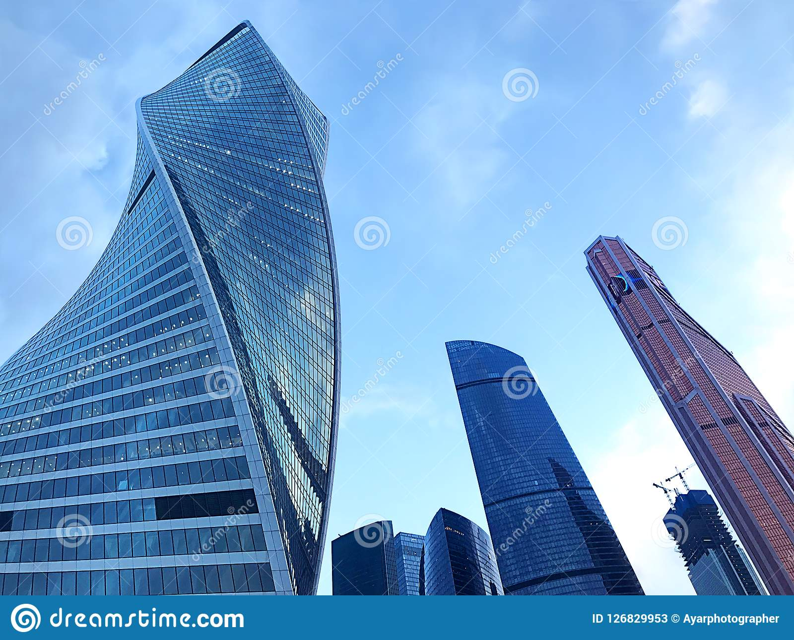 Entwicklungs-Turm, Vereinigungs-Türme und Mercury City Tower - internationales Geschäftszentrum Moskaus - Russland
