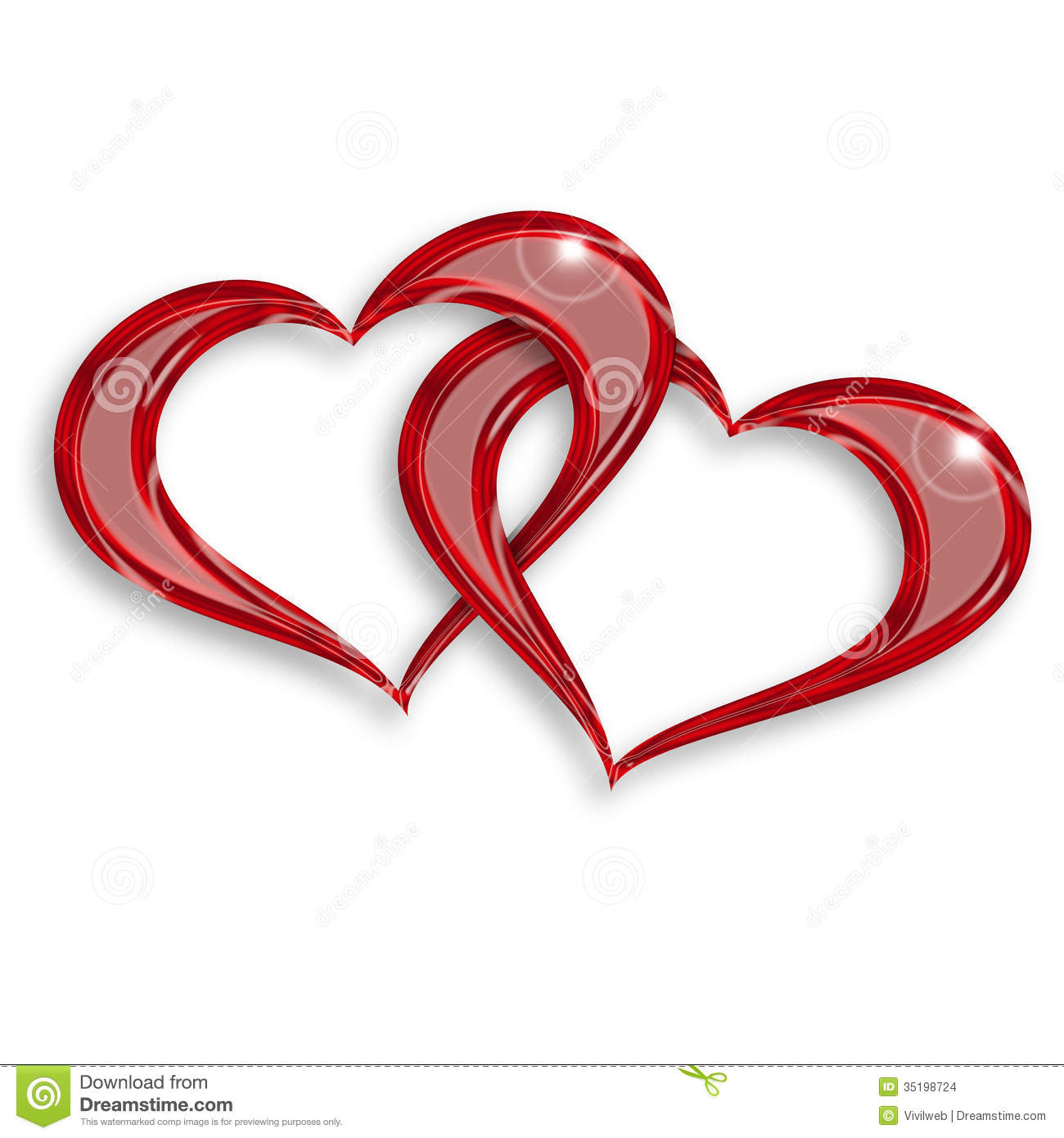 Entwined Red Hearts Stock Images - Image: 35198724