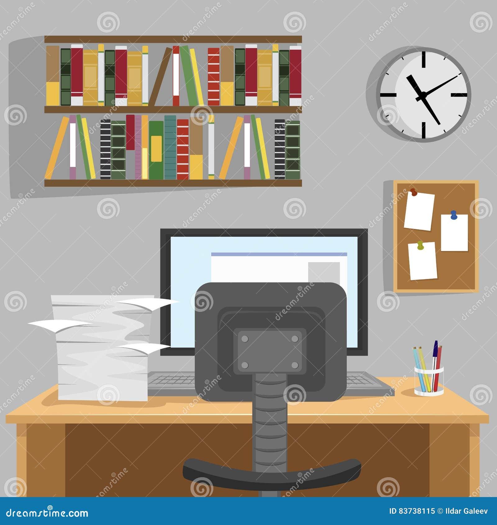 Entworfener Moderner Arbeitsplatz Zu Hause Mit Schreibtisch, Monitor ...