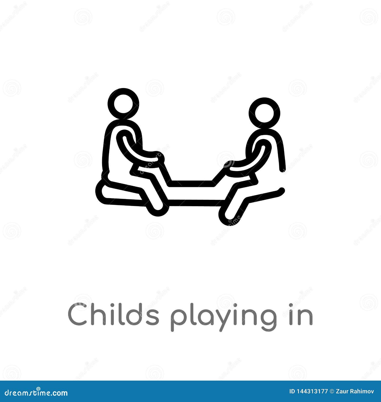 Entwurf childs, die in der playgrpound Vektorikone spielen lokalisiertes schwarzes einfaches Linienelementillustration vom Leutek