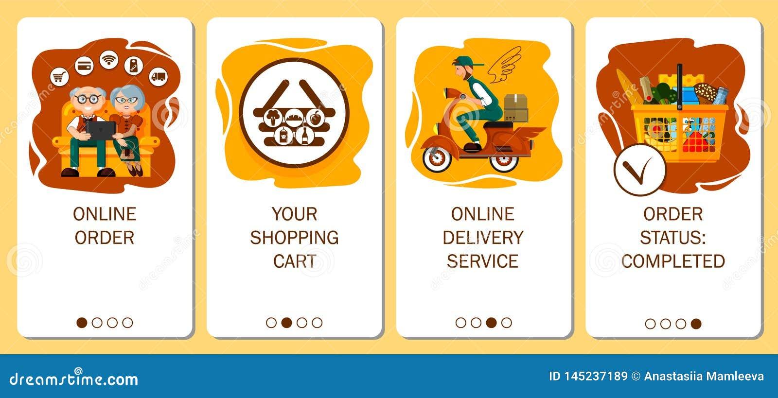 Entwurf des mobilen App zu onboarding Schirmen On-line-Auftragsservice, Nahrungsmittellieferung, Auftragslebensmittelgesch?ft im