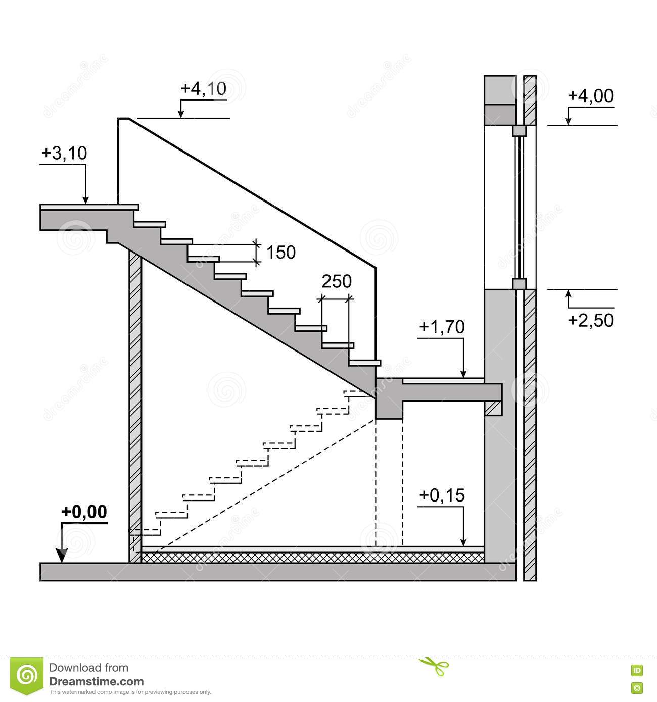 entwurfs projekt treppe auf wei em hintergrund vektor vektor abbildung illustration von. Black Bedroom Furniture Sets. Home Design Ideas