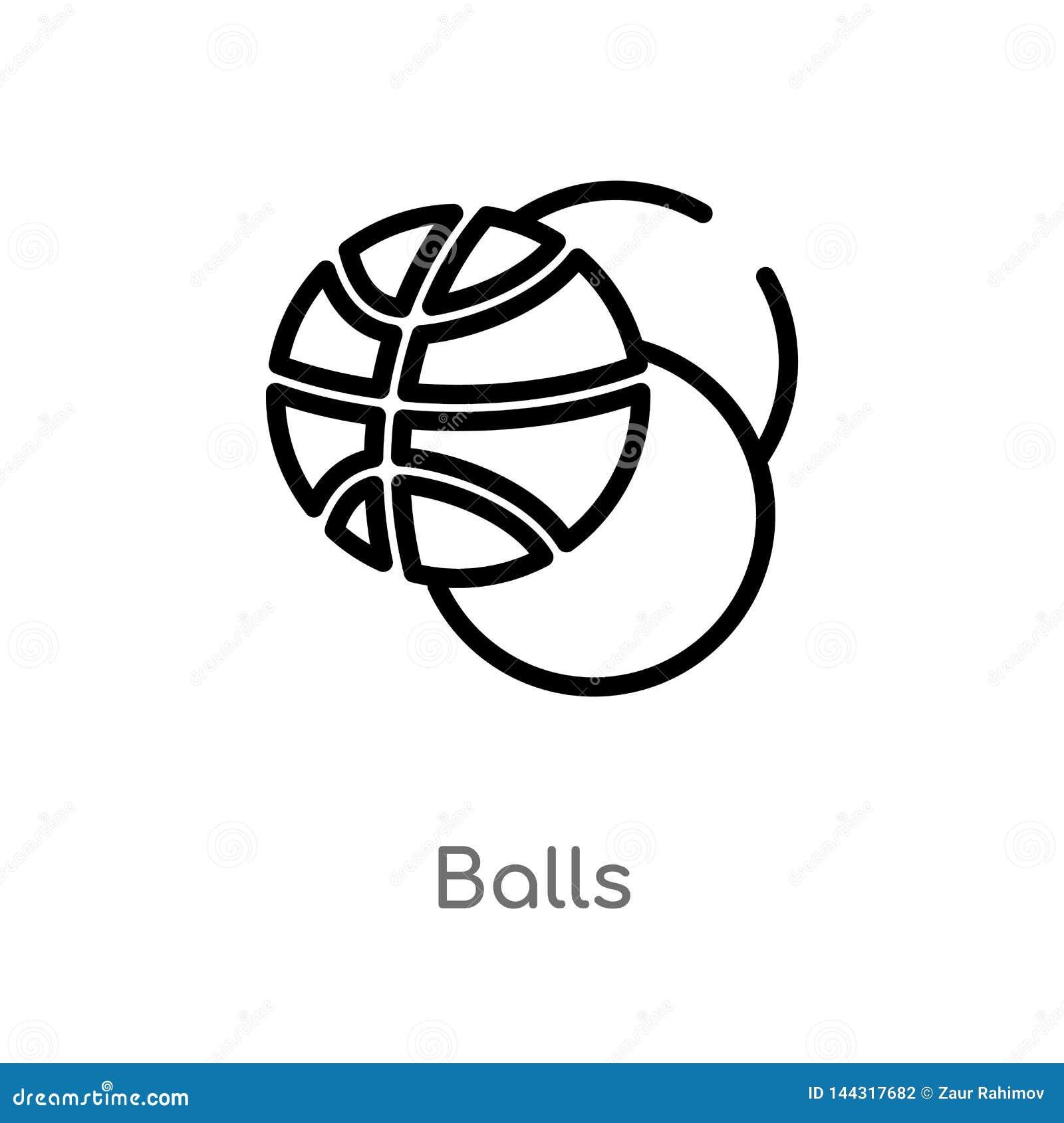 Entwurfsball-Vektorikone lokalisiertes schwarzes einfaches Linienelementillustration vom Sportkonzept editable Vektoranschlag-Bal