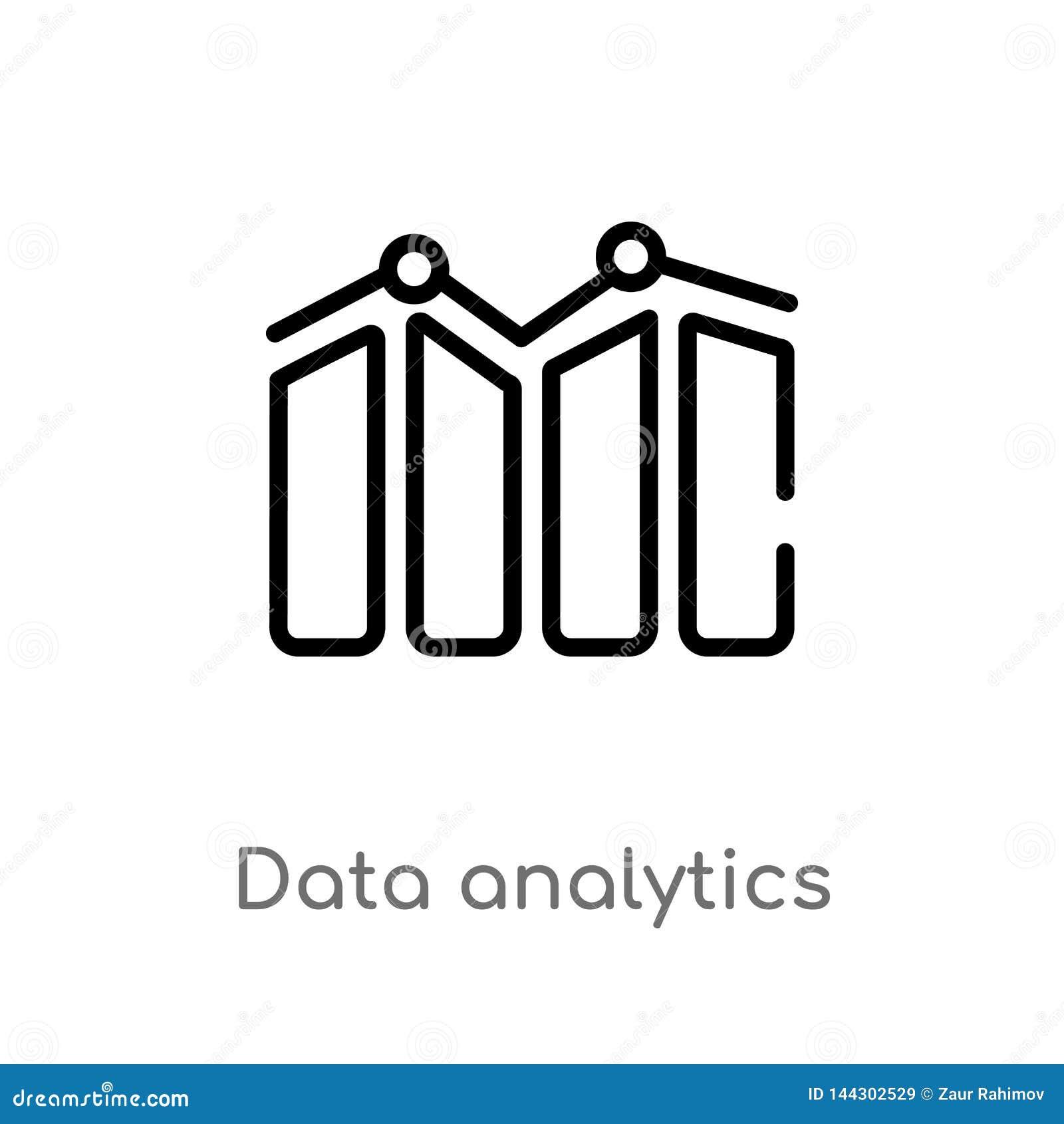 Entwurfsdaten Analytics-Vektorikone lokalisiertes schwarzes einfaches Linienelementillustration vom Benutzerschnittstellenkonzept