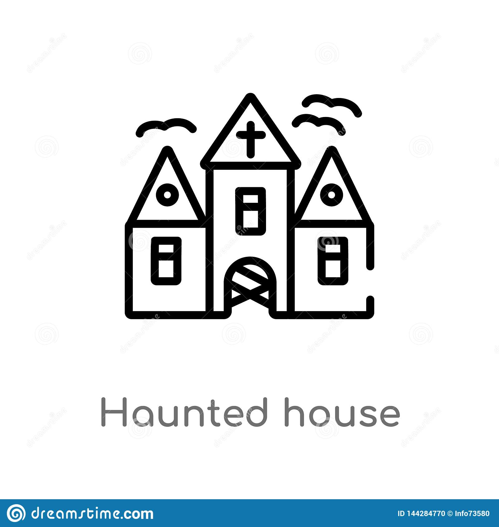 Entwurfsgeisterhaus-Vektorikone lokalisiertes schwarzes einfaches Linienelementillustration von Halloween-Konzept Editable Vektor