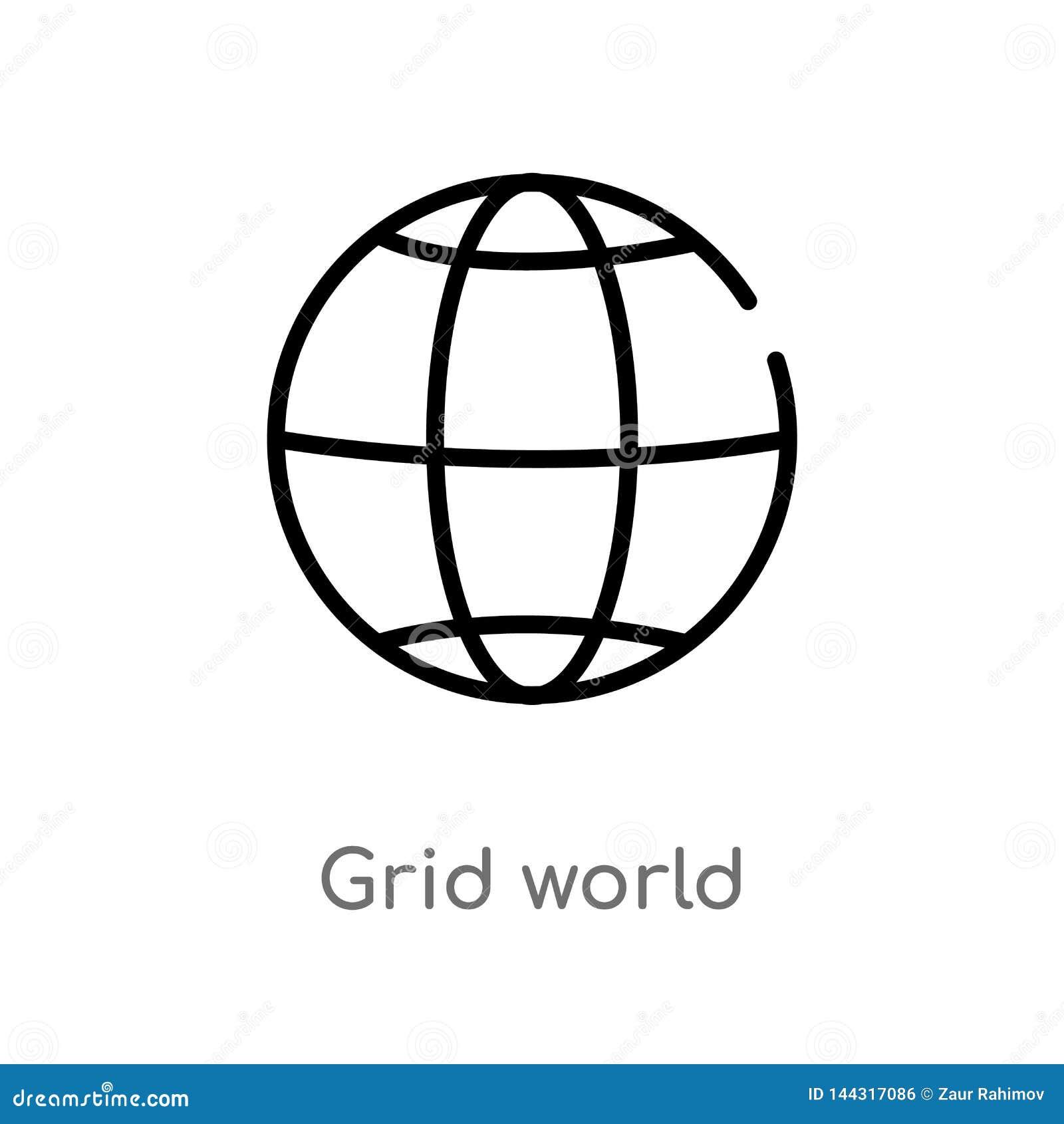 Entwurfsgitterweltvektorikone lokalisiertes schwarzes einfaches Linienelementillustration vom Zeichenkonzept editable Vektoransch