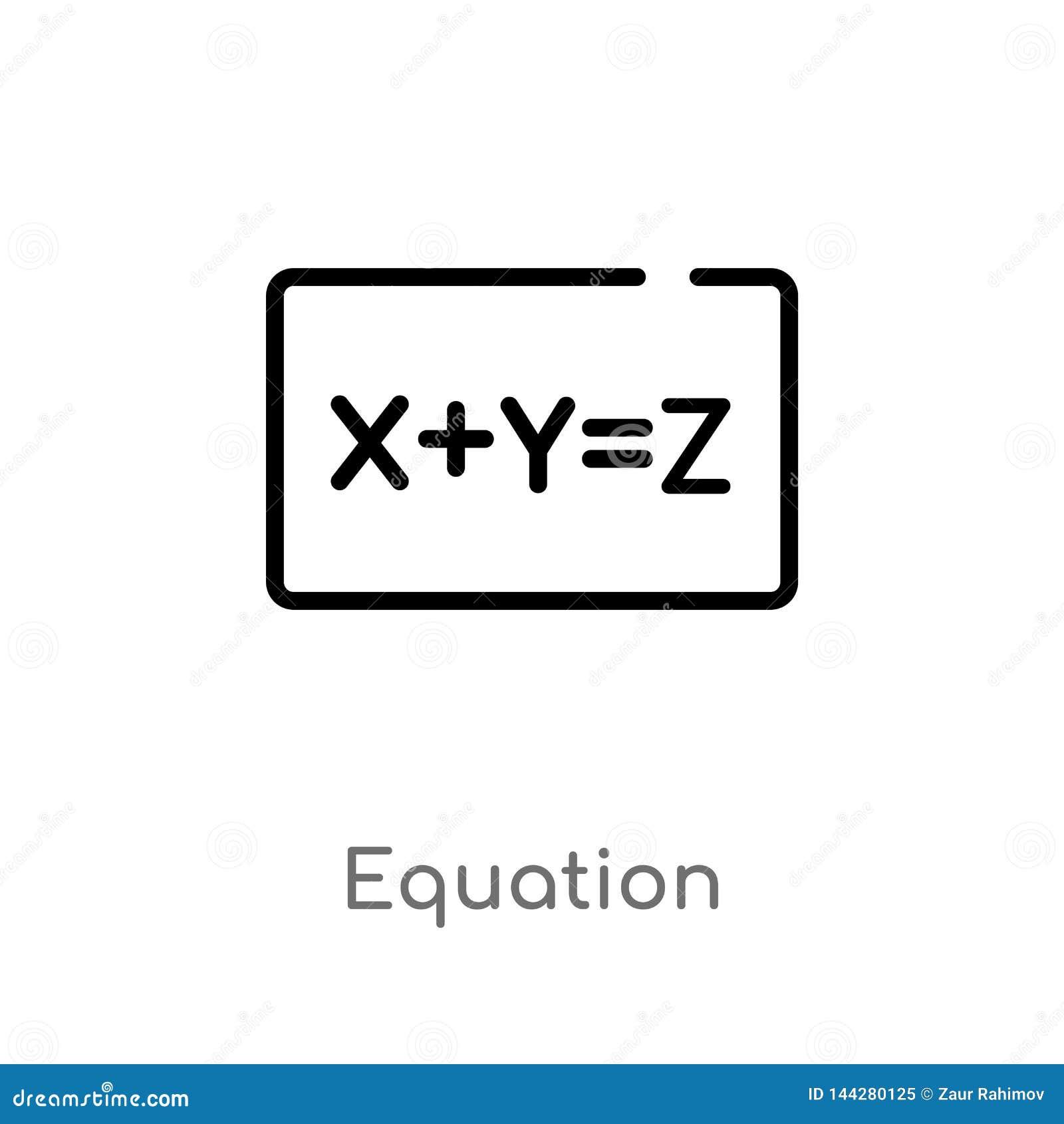 Entwurfsgleichungs-Vektorikone lokalisiertes schwarzes einfaches Linienelementillustration vom Ausbildungskonzept Editable Vektor