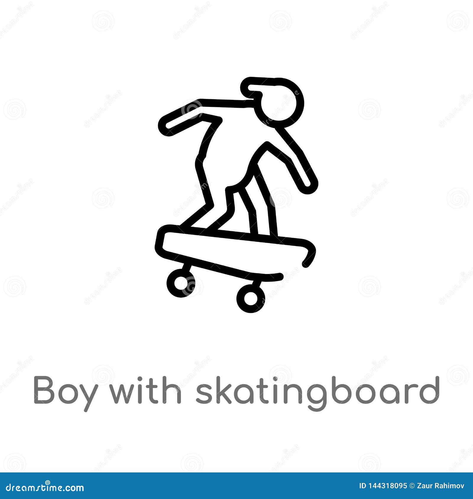 Entwurfsjunge mit skatingboard Vektorikone lokalisiertes schwarzes einfaches Linienelementillustration vom Sportkonzept Editable