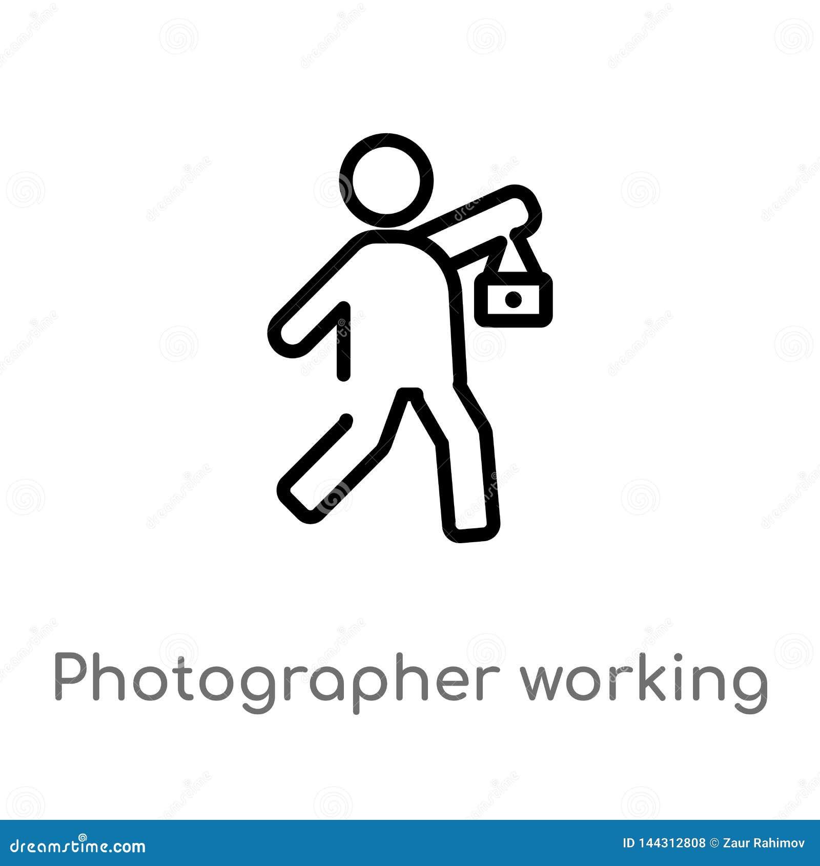 Entwurfsphotographarbeitsvektorikone lokalisiertes schwarzes einfaches Linienelementillustration vom Leutekonzept Editable Vektor