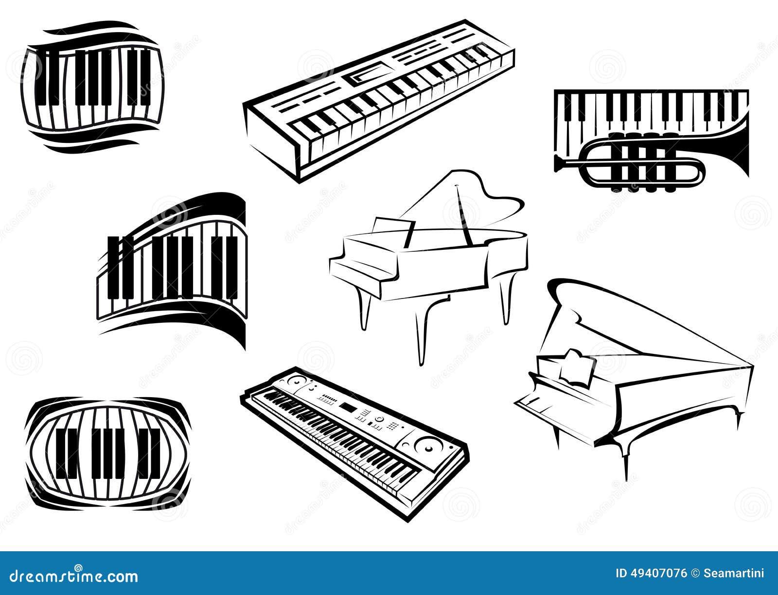 Download Entwurfsskizzenklavier-Musikikonen Vektor Abbildung - Illustration von ausrüstung, nachricht: 49407076