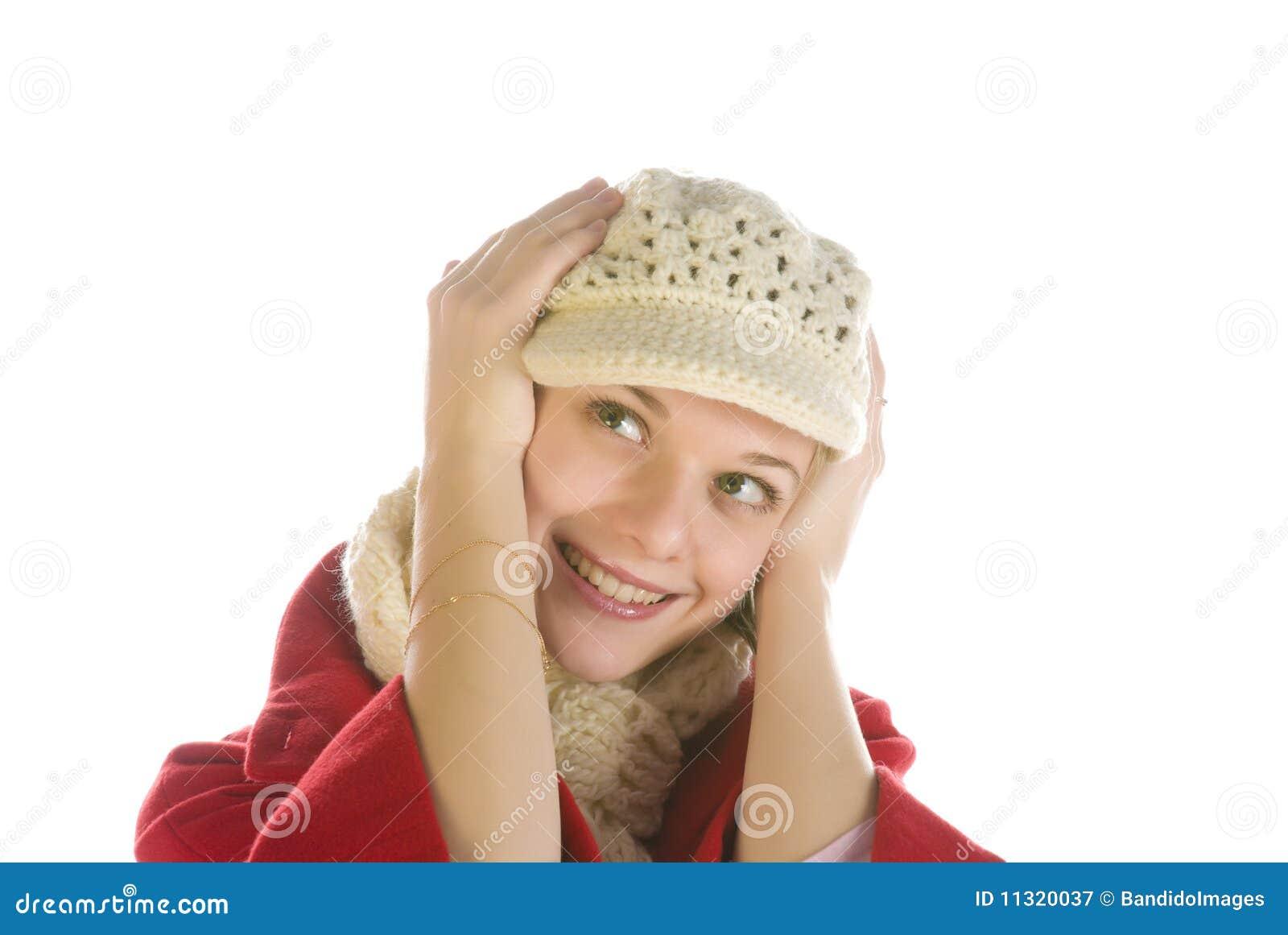 Entzückende Frauenholding ihr Kopf