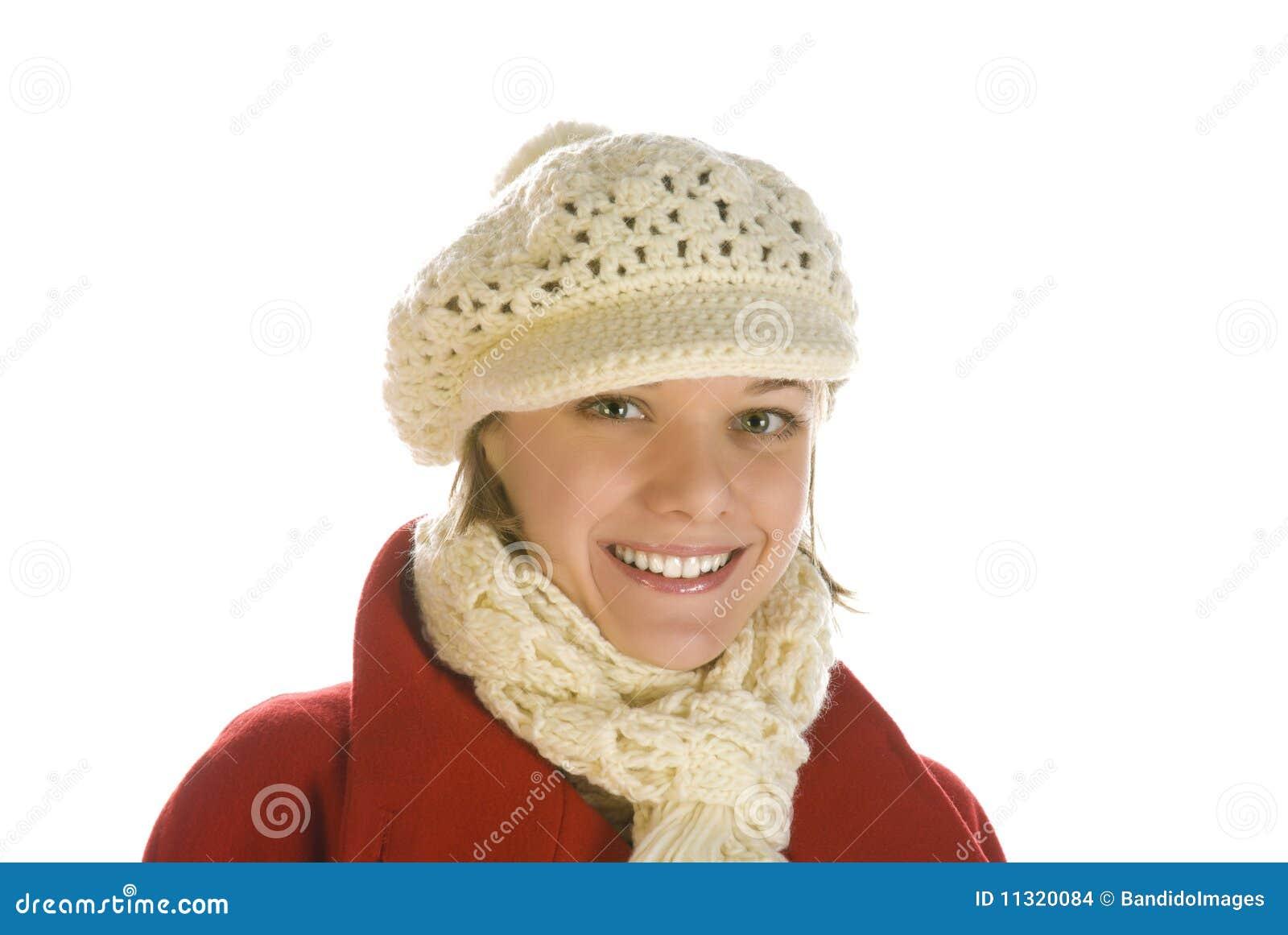 Entzückende junge Frau in einer Schutzkappe