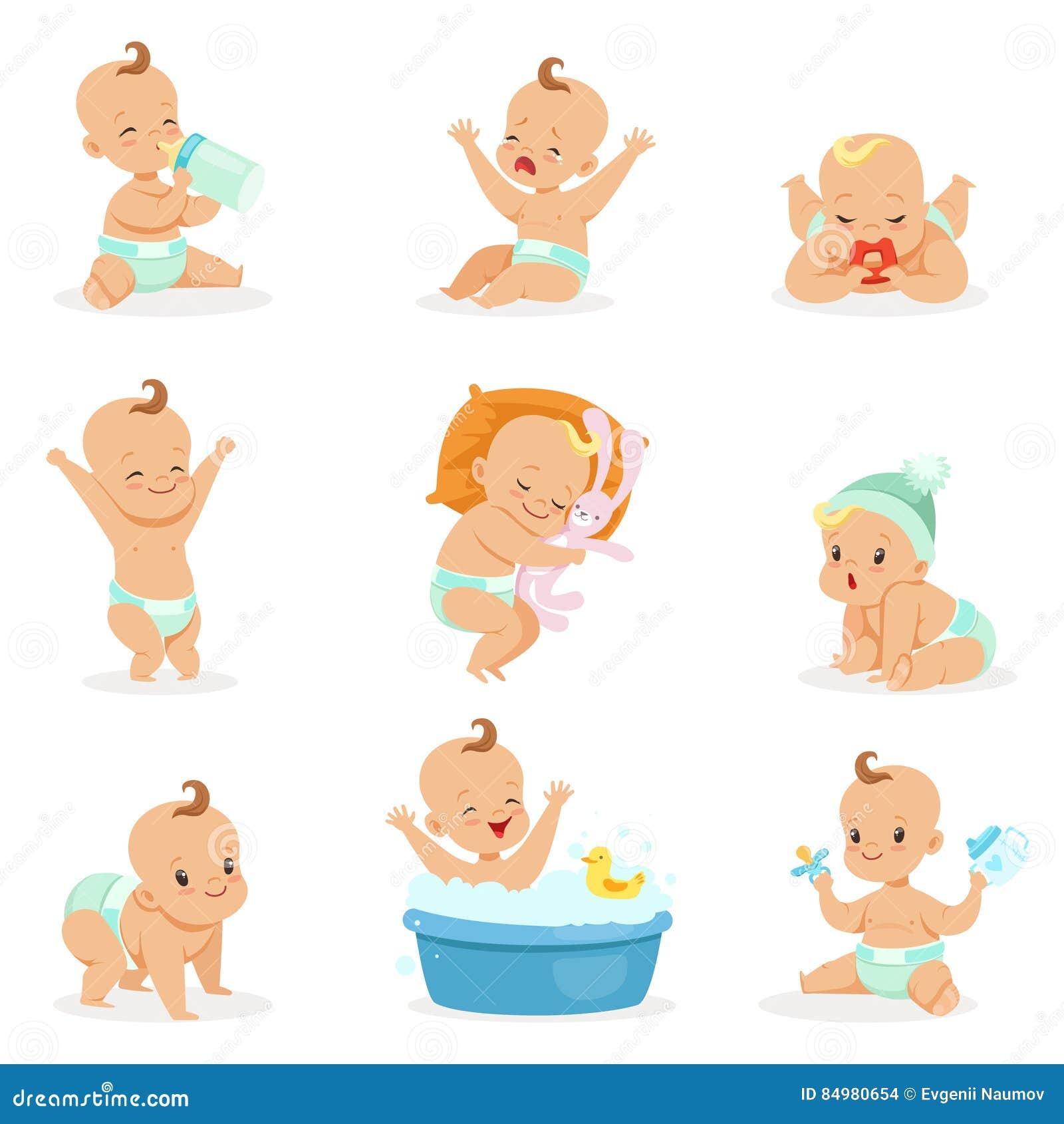 Entzückendes glückliches Baby und seine tägliche Routinereihe nette Karikatur-Kindheits-und Kinderillustrationen