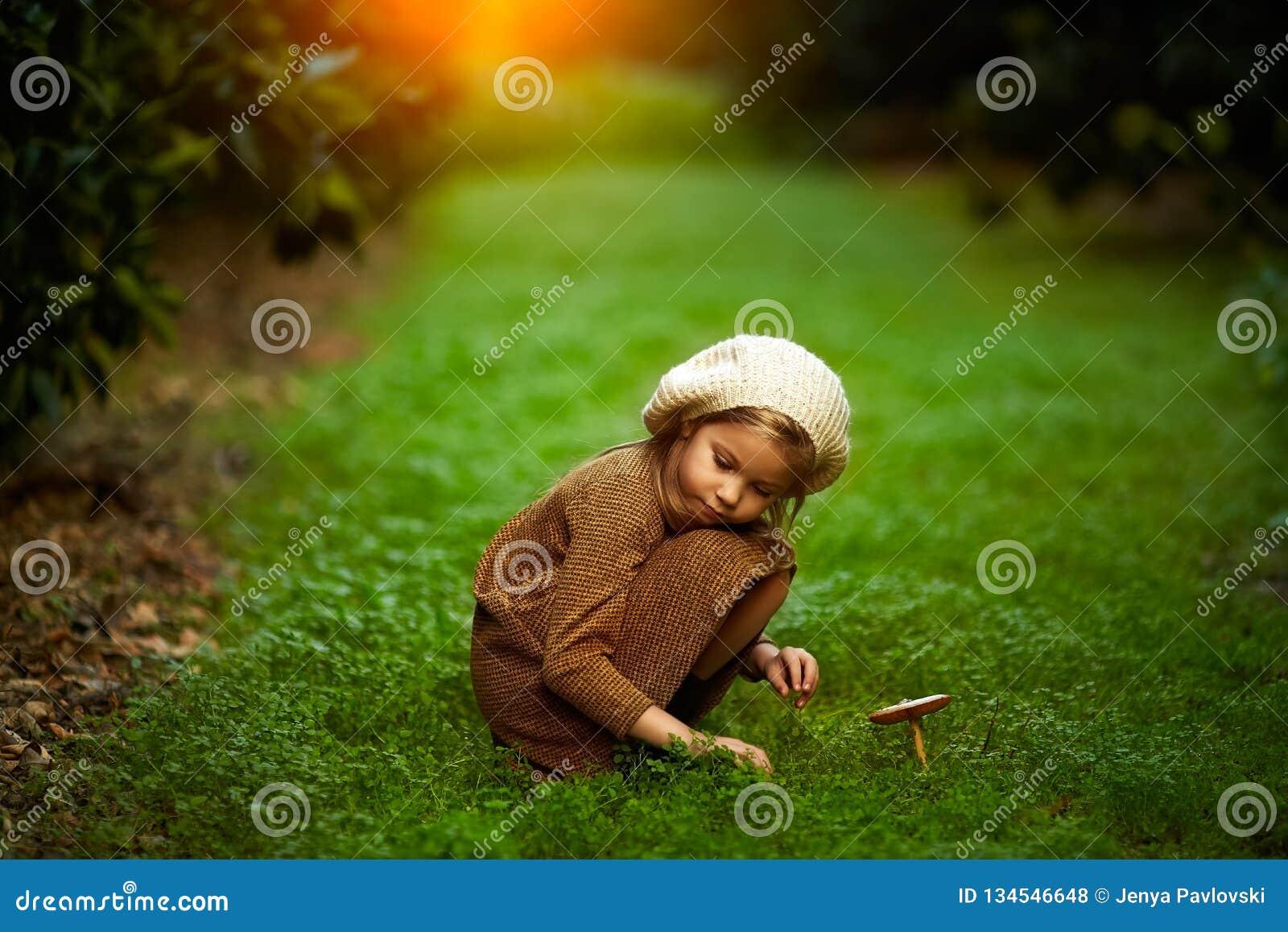 Entzückendes kleines Mädchen, das im Wald am Sommertag wandert