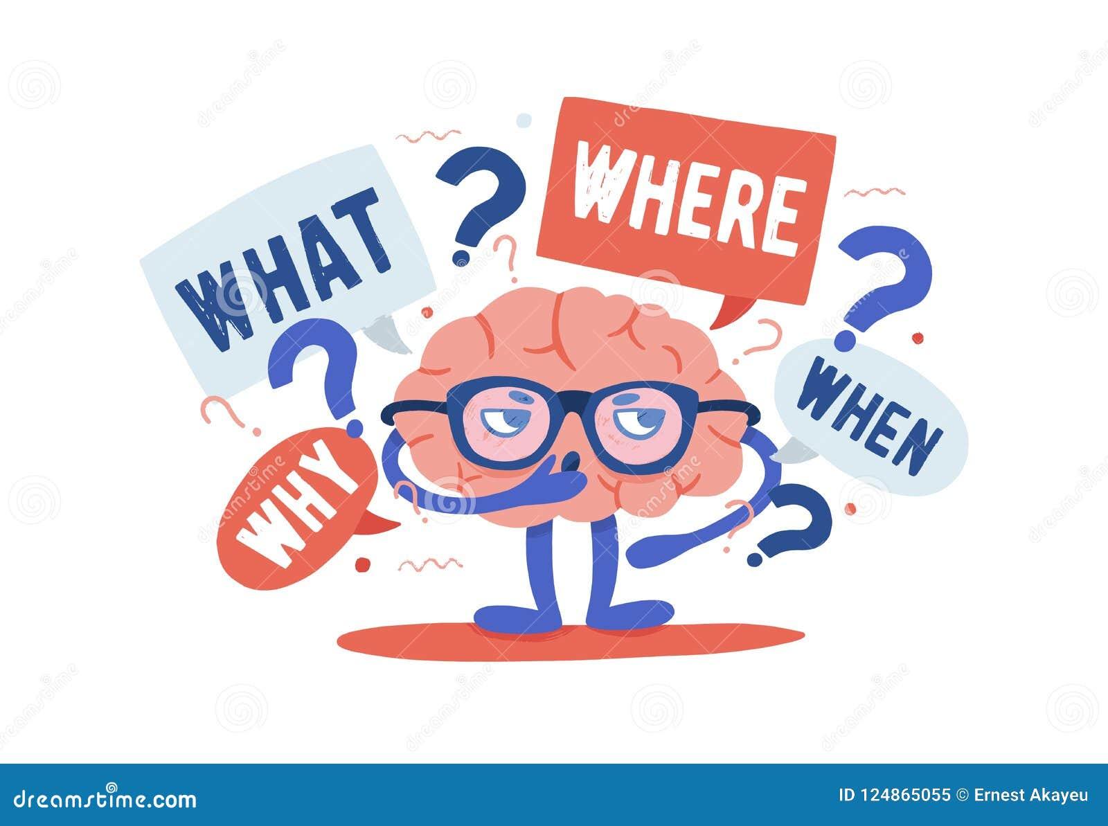 Entzückendes neugieriges menschliches Gehirn mit den Gläsern, die Rätsel umgeben durch Fragen und Befragungspunkte lösen karikatu