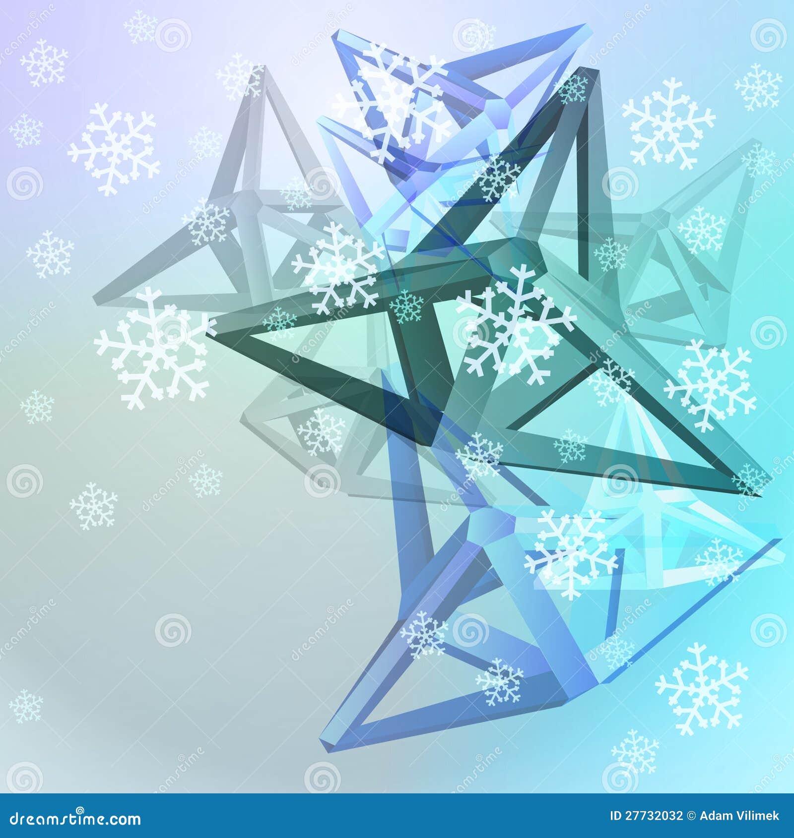Entziehen Sie blauen Formaufbau mit Schnee