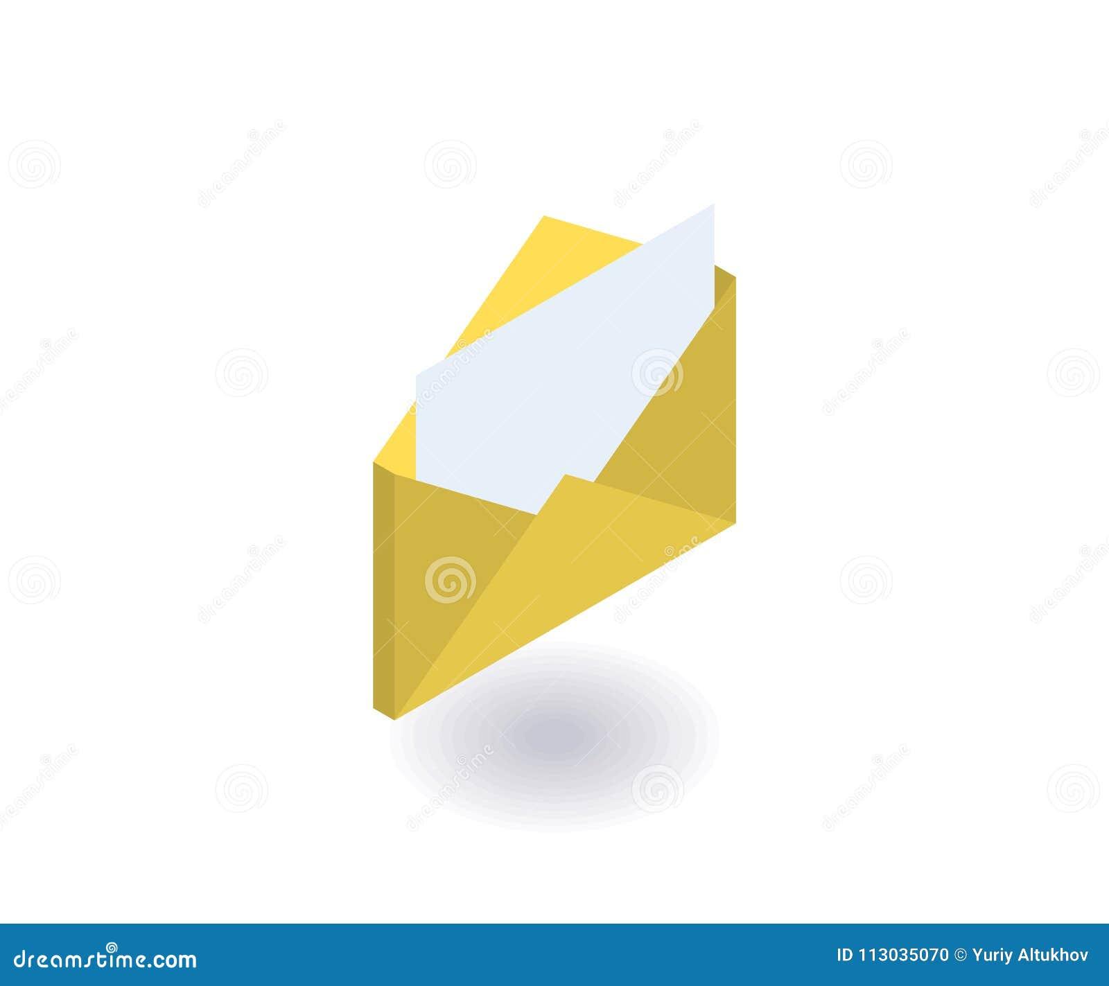 Envíe el icono, ejemplo del vector en el estilo isométrico plano 3D