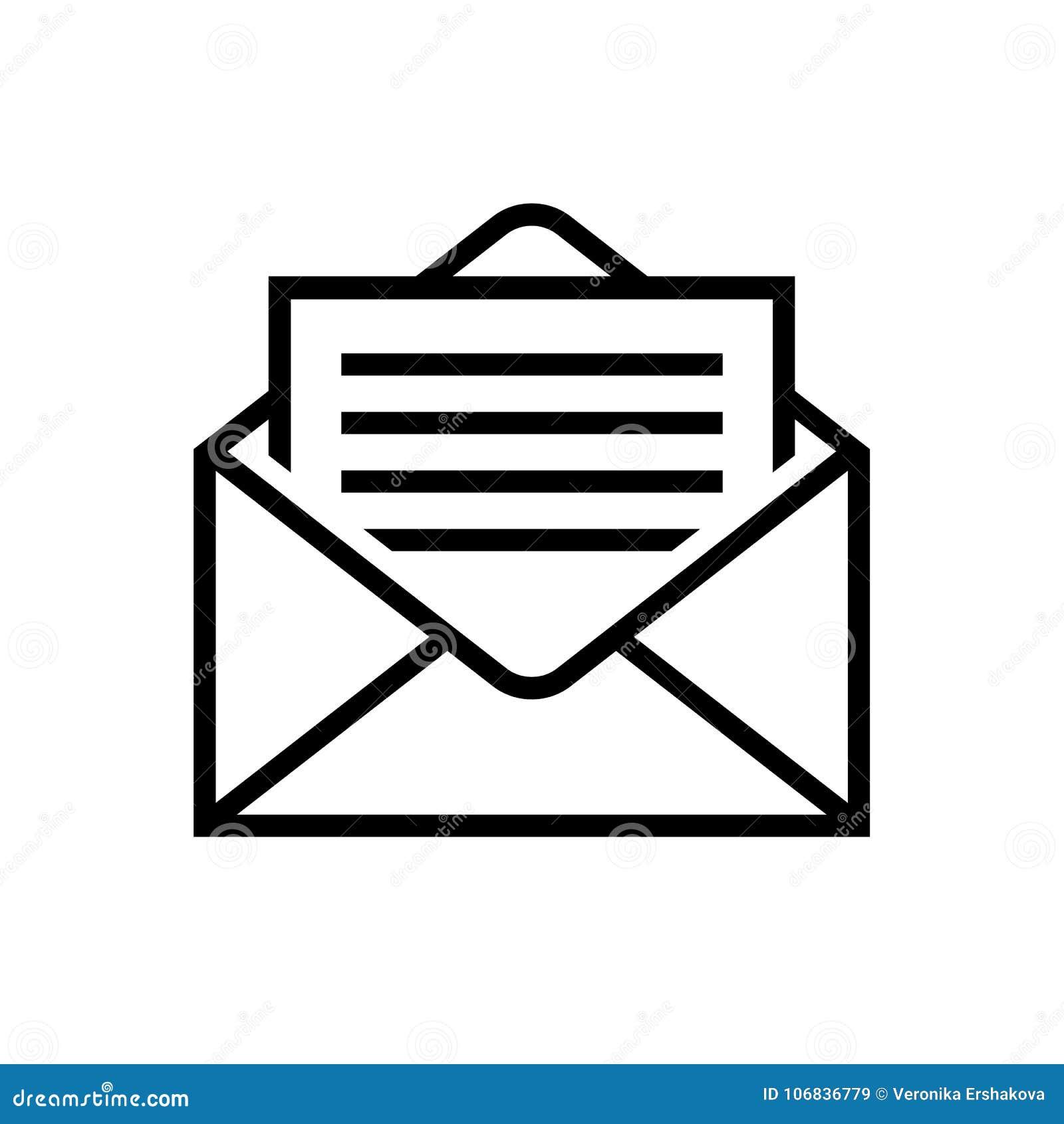 Envíe la letra de los iconos en símbolo del reparto del correo del sobre