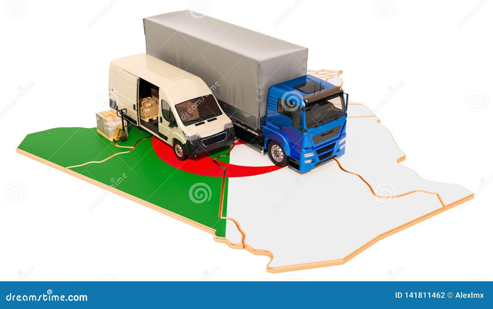 Envío y entrega en el concepto de Argelia, representación 3D