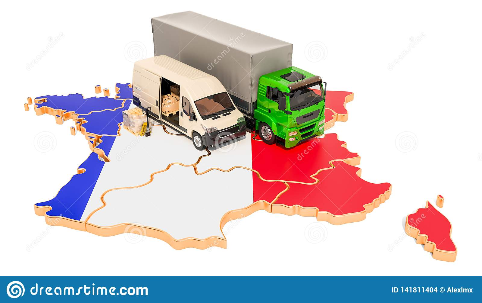 Envío y entrega en el concepto de Francia, representación 3D